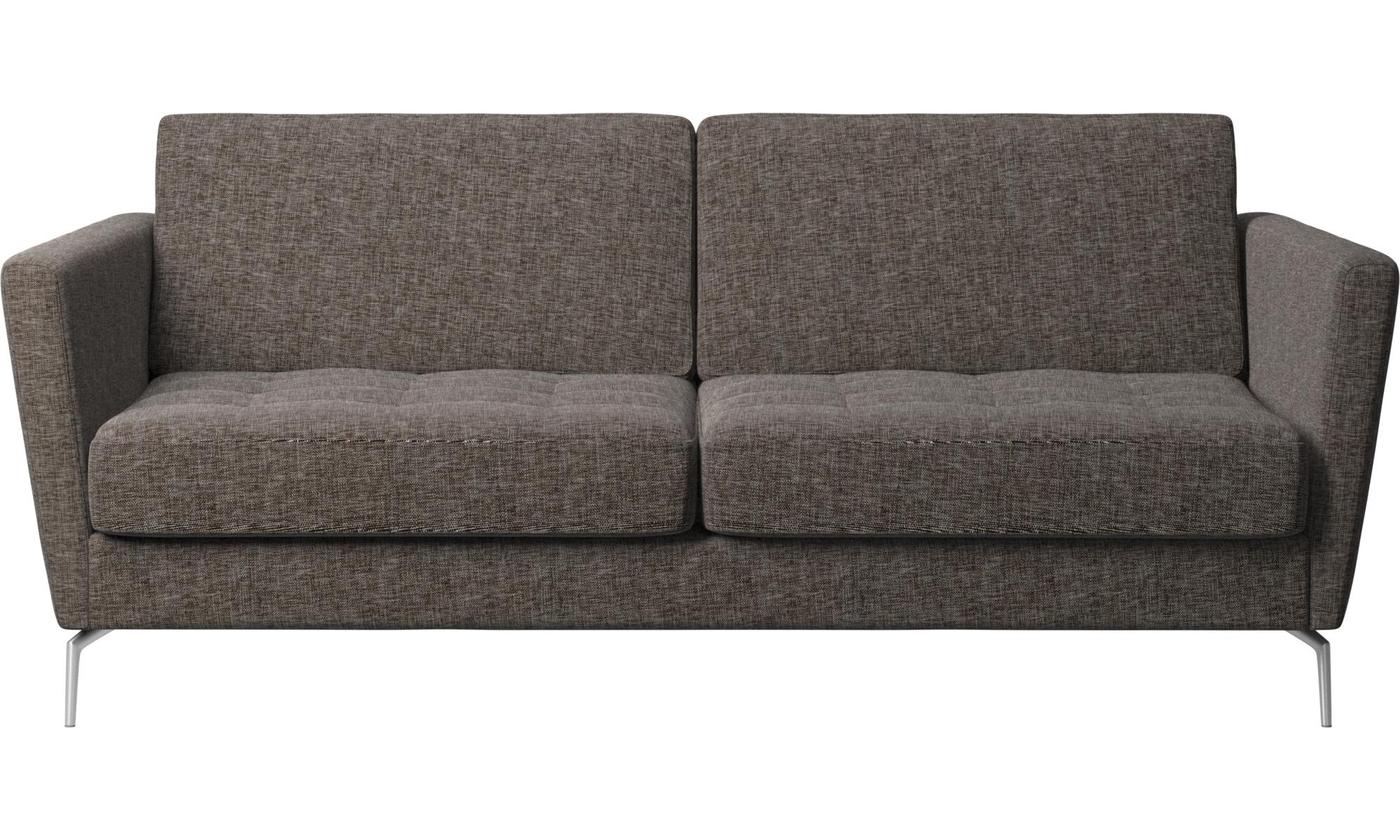 Sofy rozkładane - Sofa Osaka z funkcją spania, pikowane siedzisko - Brązowy - Tkanina