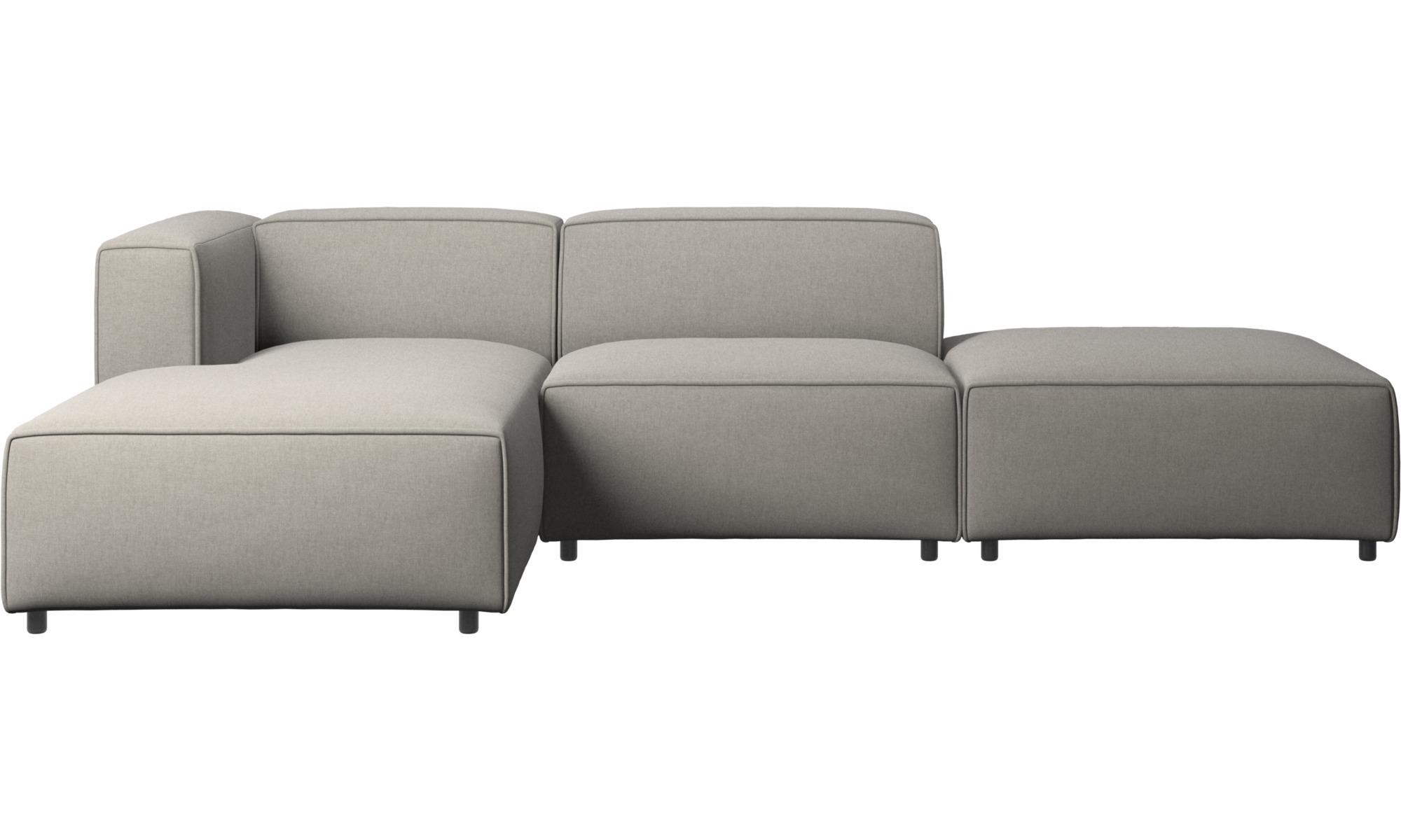 Canapés modulaires - Canapé Carmo avec méridienne et chaise longue - Gris - Tissu