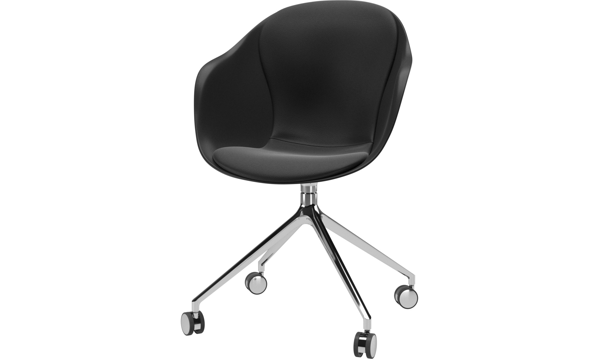Home office chairs - Adelaide chair with swivel function and wheels - Black - Leather