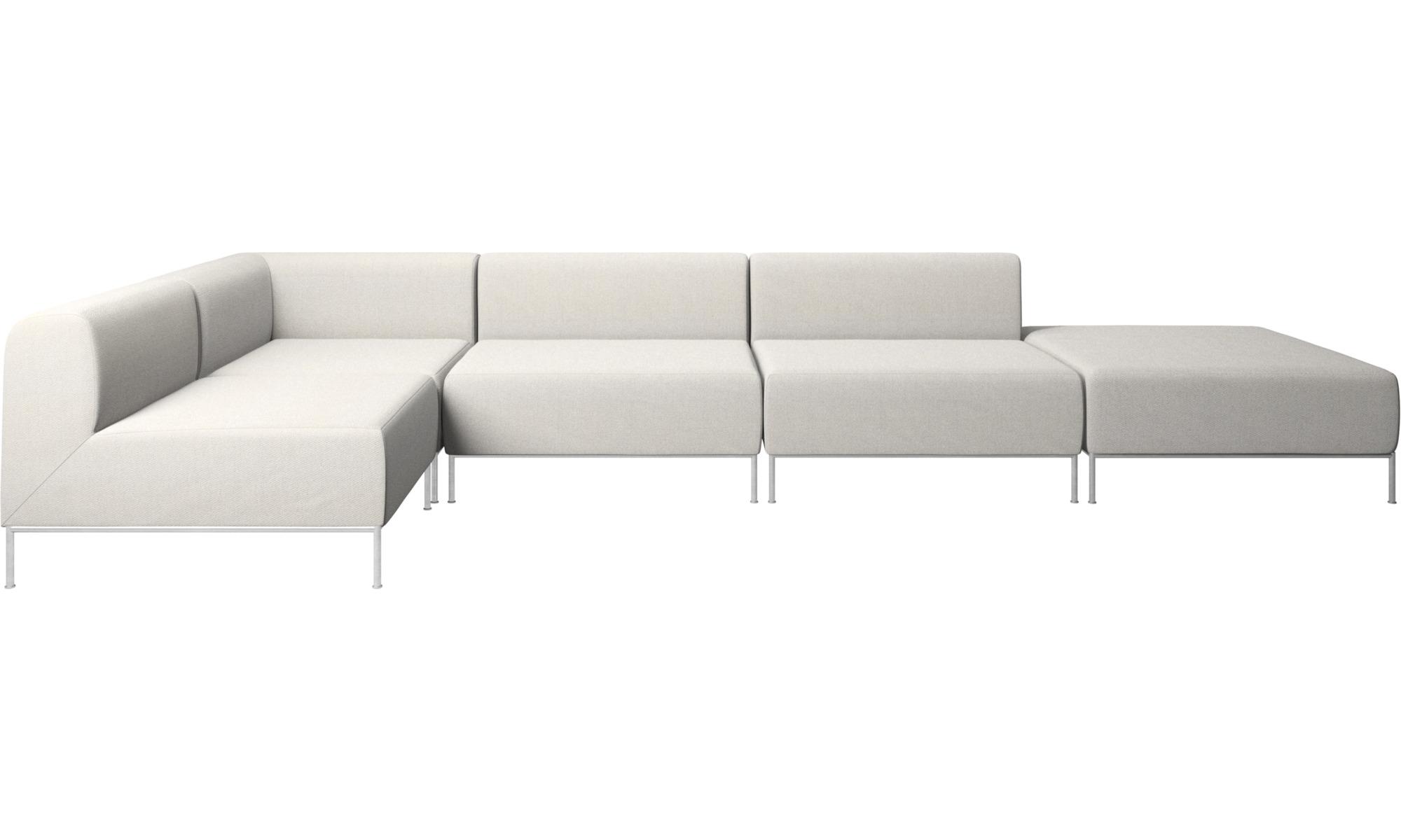 Modulære sofaer - Miami hjørnesofa med puf på højre side - Hvid - Stof