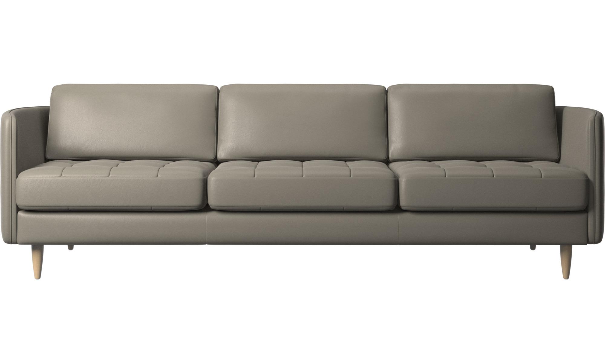 3 personers sofaer - Osaka sofa, tuftet sædehynde - Grå - Læder