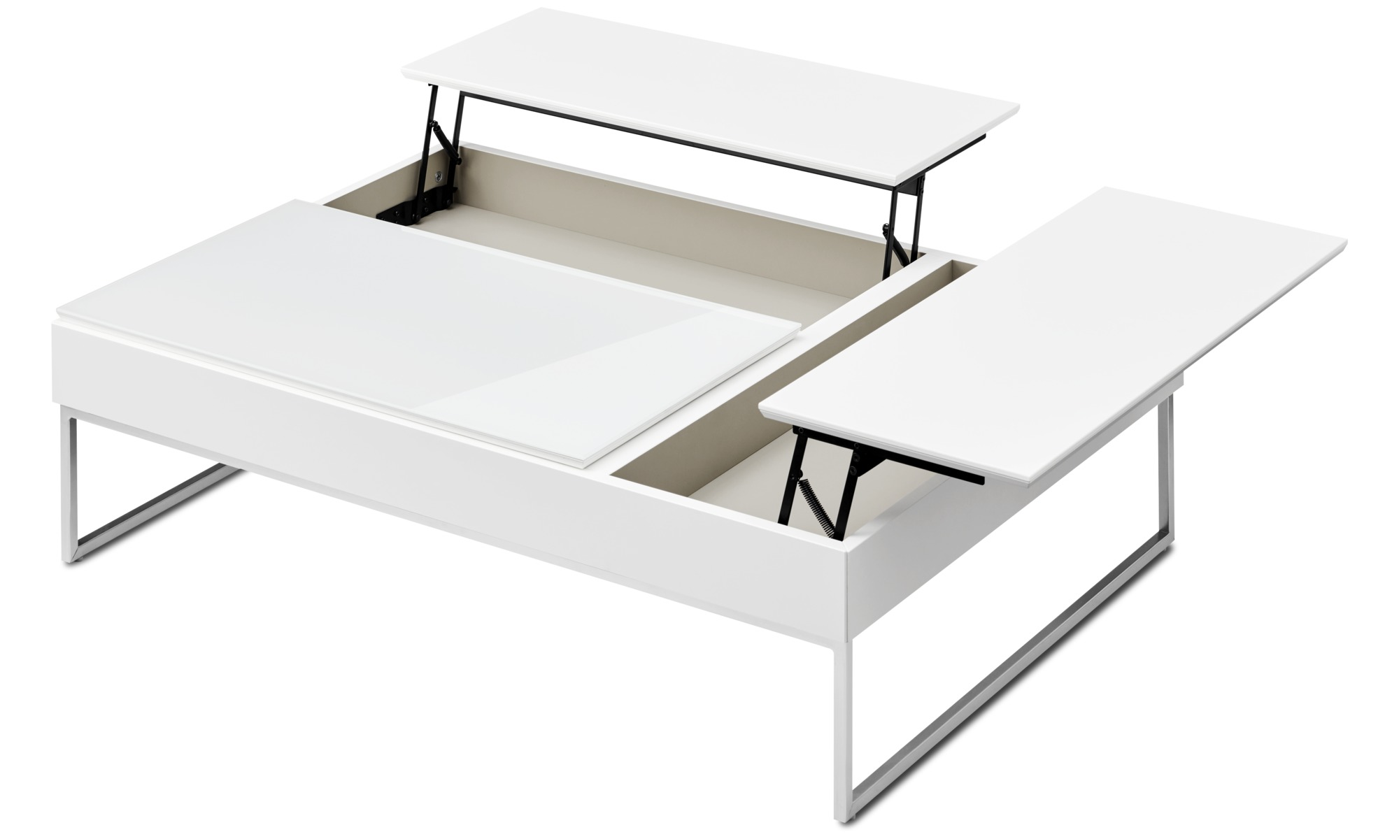 Coffee Tables Chiva Functional Table With Storage Rectangular White Lacquered