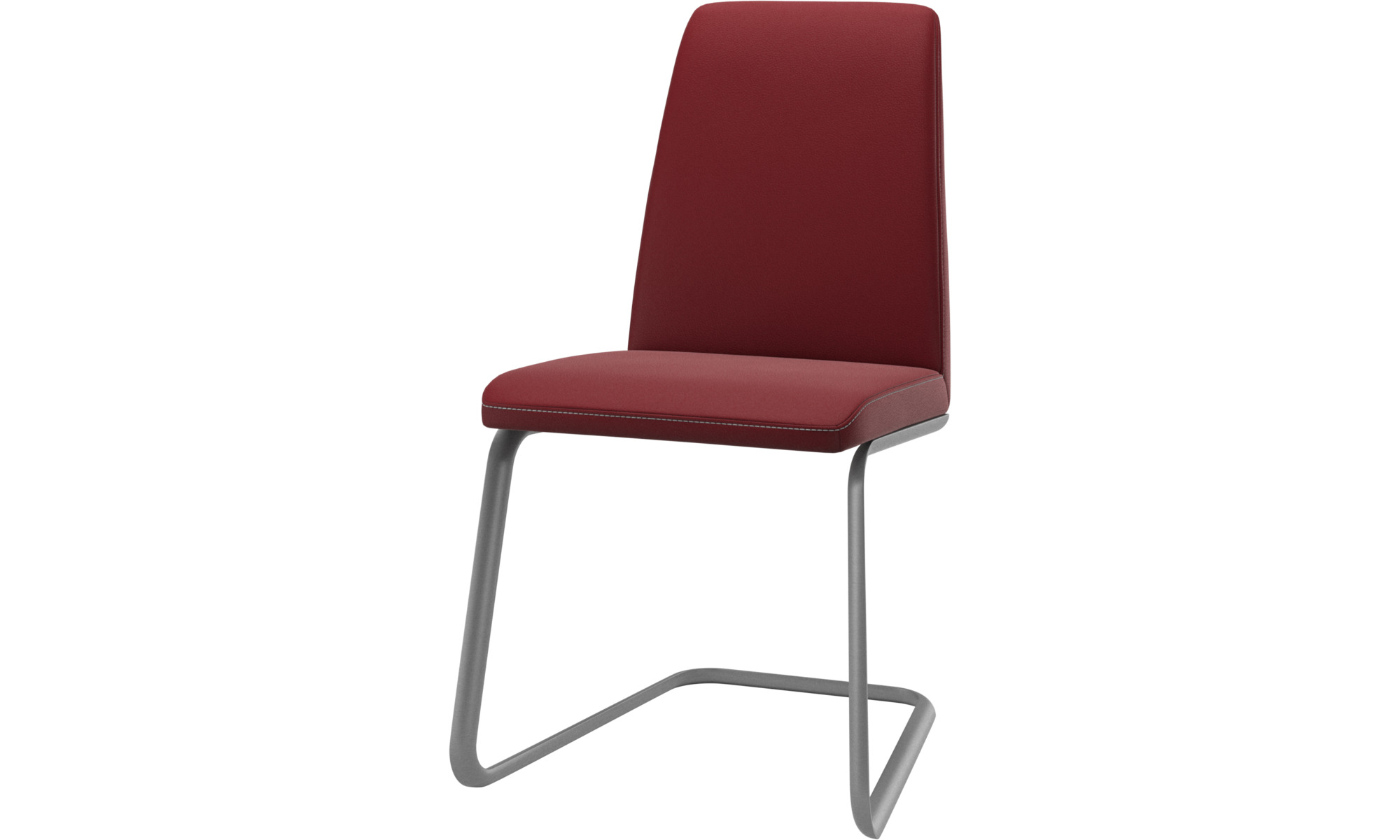 Dining chairs - Lausanne chair - Red - Leather