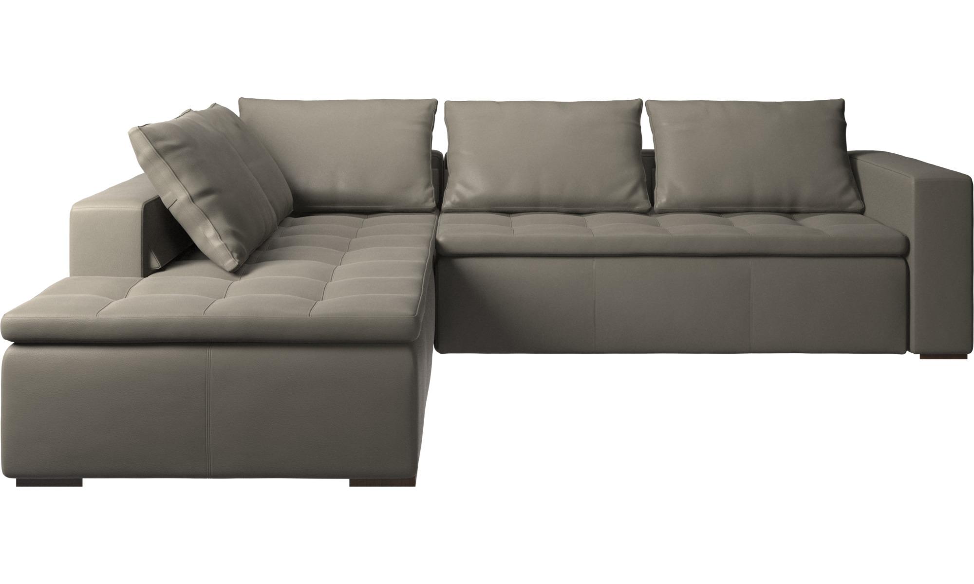 Hjørnesofaer - Mezzo hjørnesofa med loungemodul - Grå - Læder