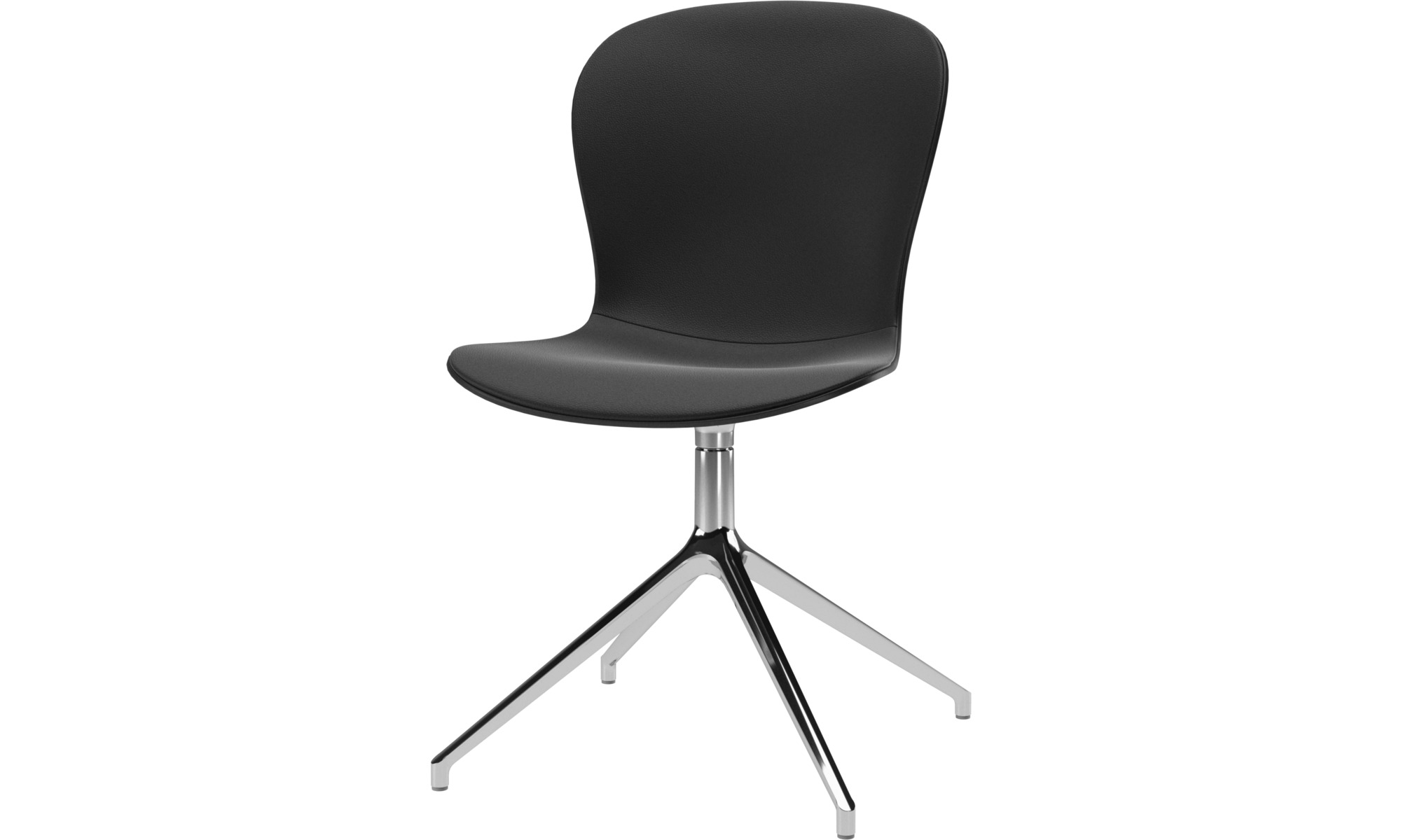 Home office chairs - Adelaide chair with swivel function - Black - Leather