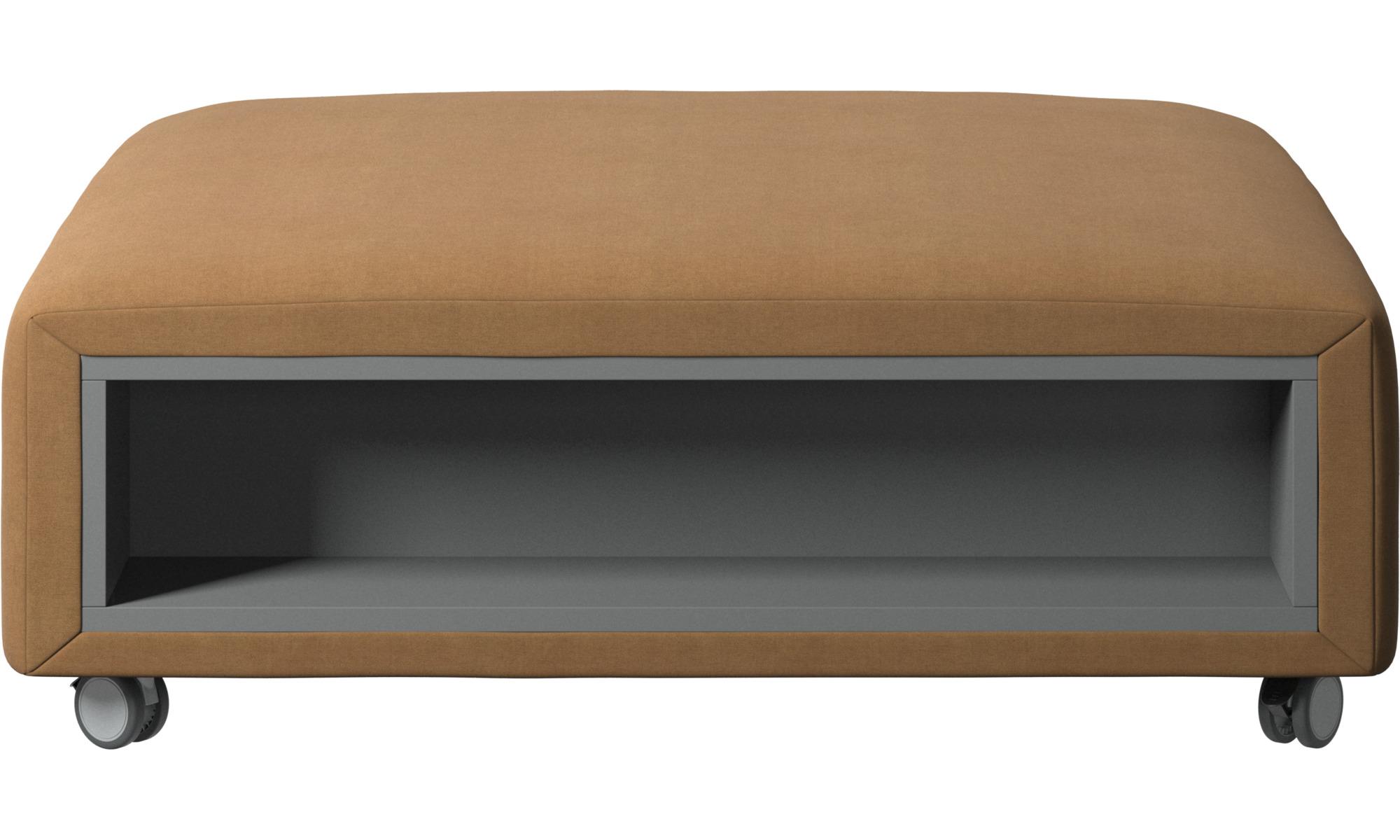 Pufs - Puf con ruedas Hampton con almacenamiento en lados derecho e izquierdo - En marrón - Tela
