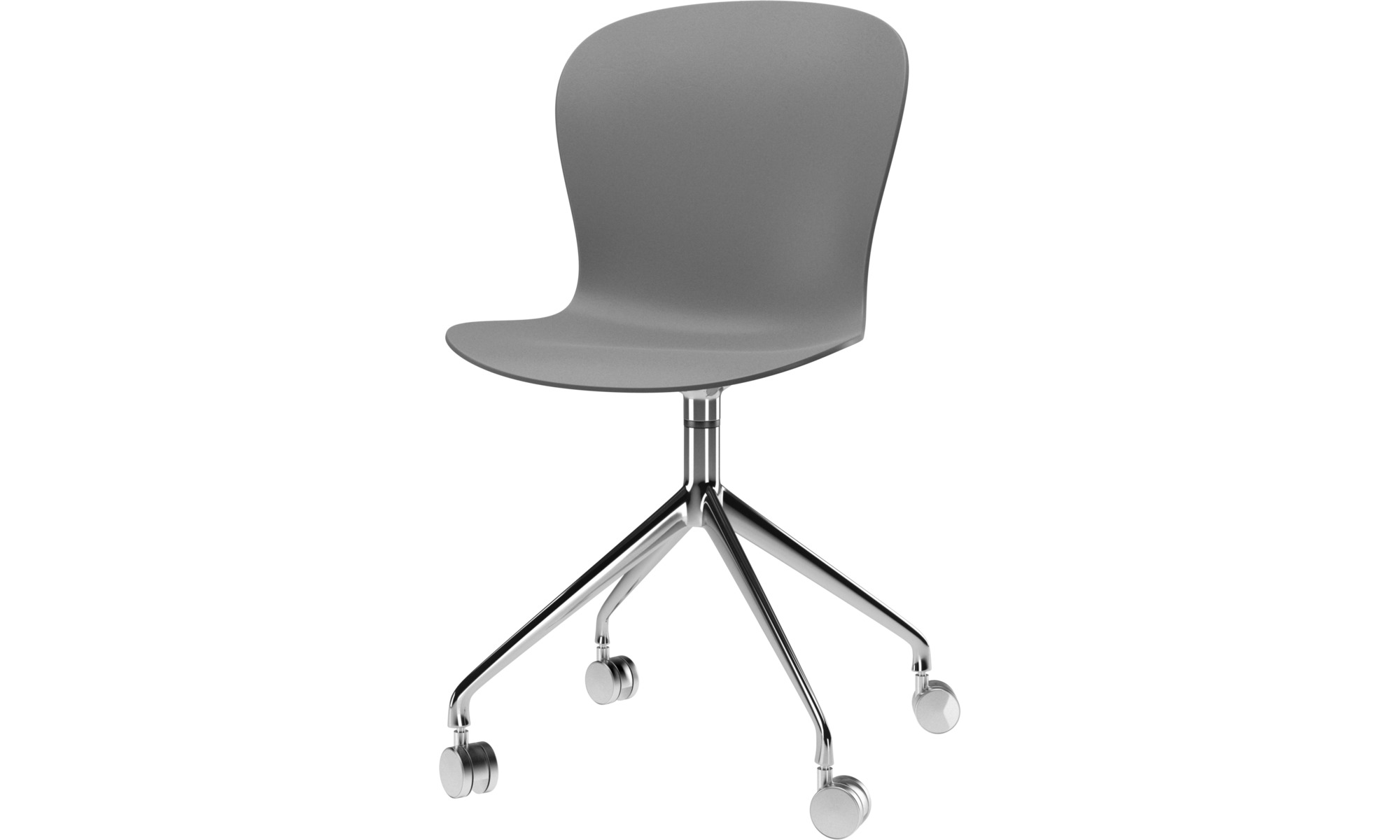 Home office chairs - Adelaide chair with swivel function and wheels - Grey - Metal