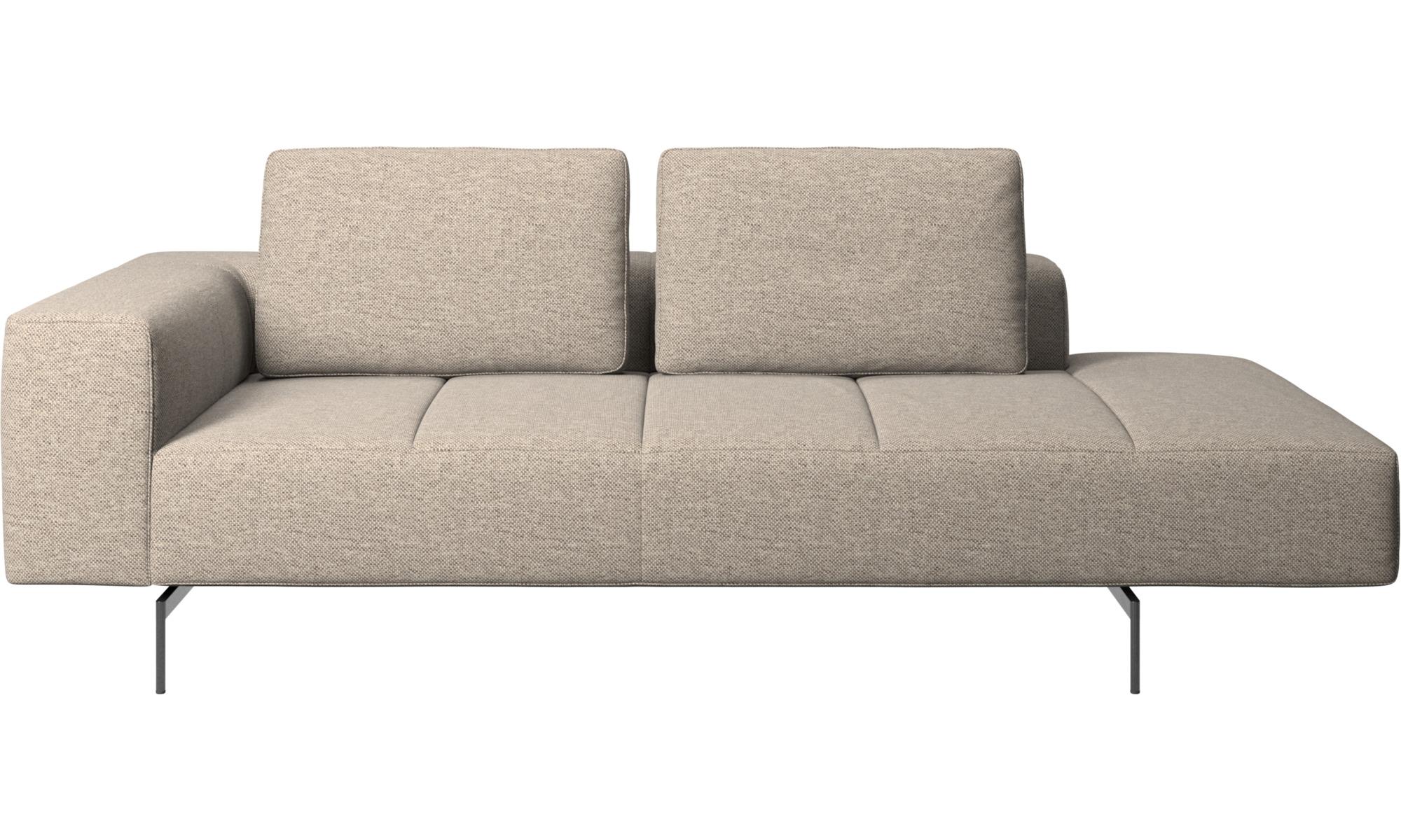 Modulare Sofas - Amsterdam Sofa-Ruhemodul, Armlehne links, offenes Ende rechts - Beige - Stoff