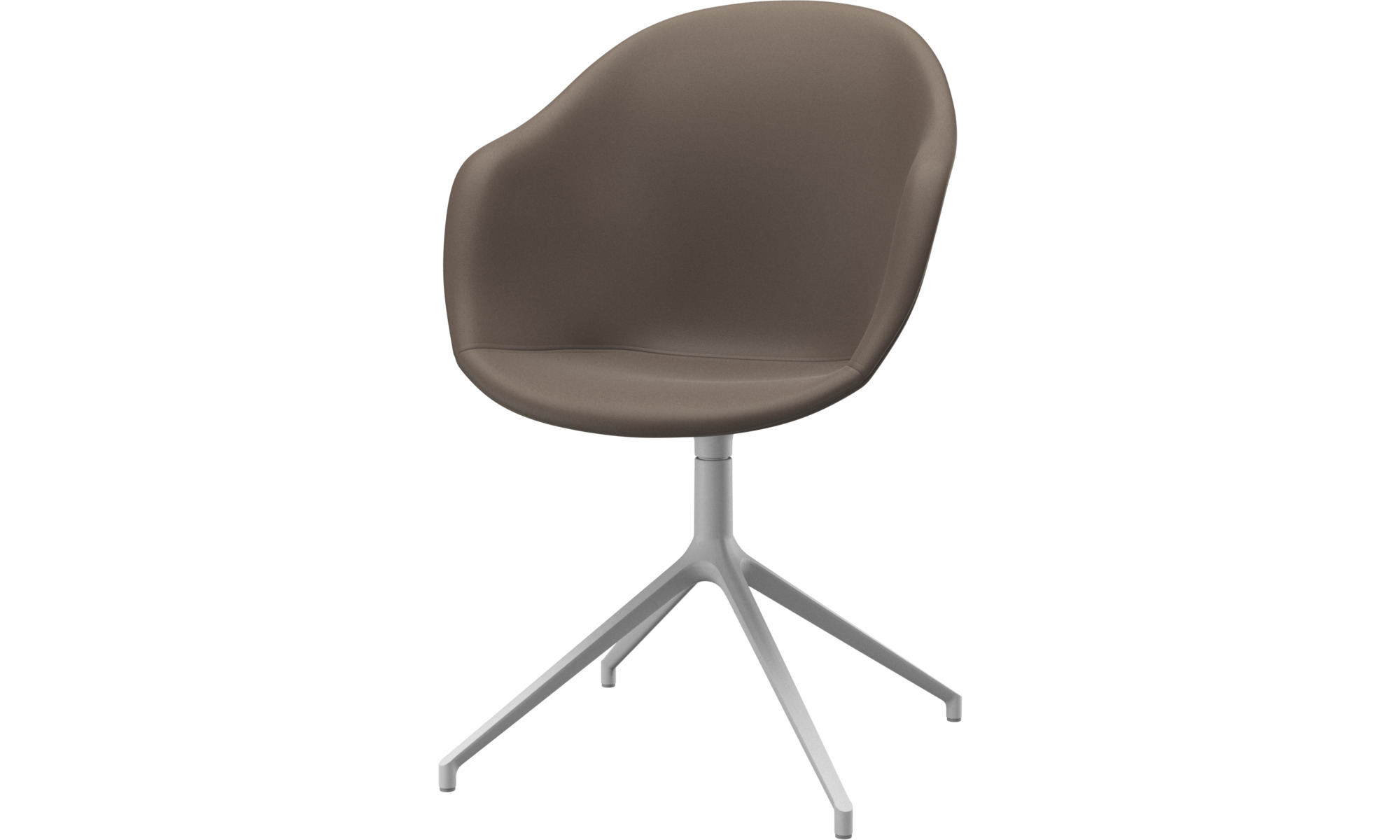 Home office chairs - Adelaide chair with swivel function - Grey - Leather