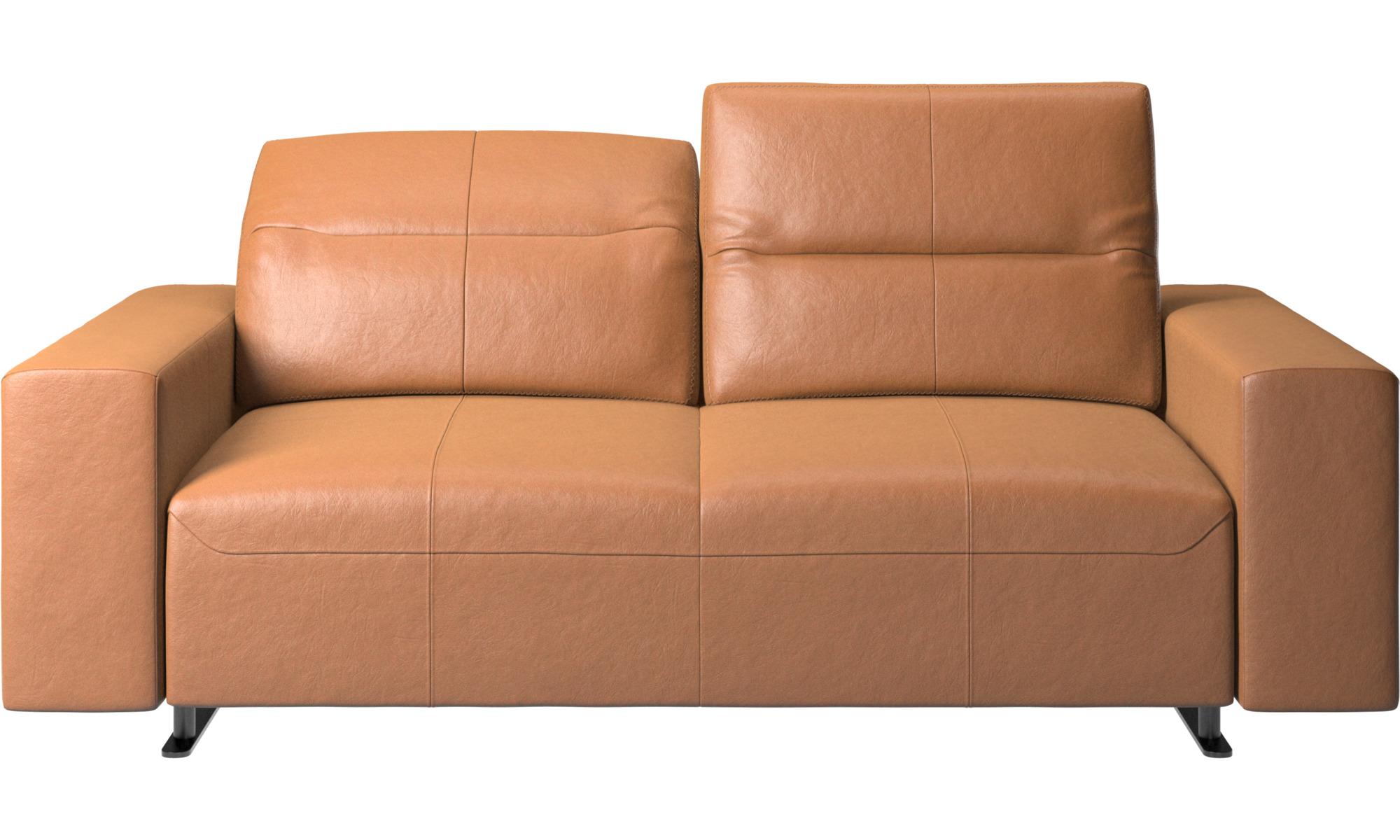 2 personers sofaer - Hampton sofa med justerbar ryg og opbevaring i venstre side - Brun - Læder