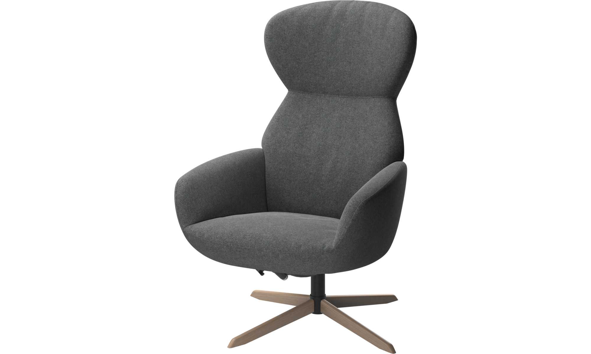 Recliners - Athena chair with reclining back function and swivel base - Grey - Fabric