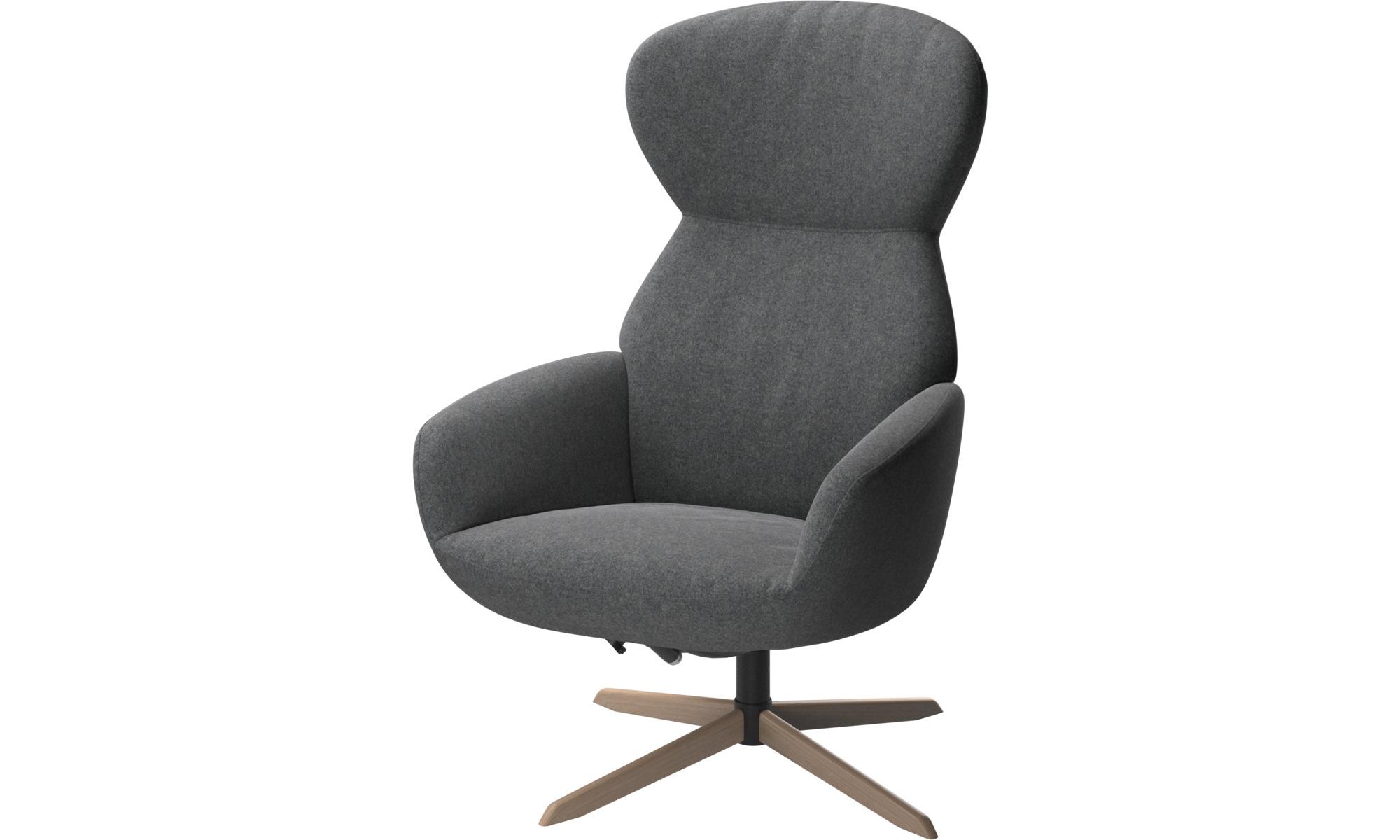 Fotele wypoczynkowe - Fotel Athena z odchylanym oparciem i na obrotowej nodze - Szary - Tkanina
