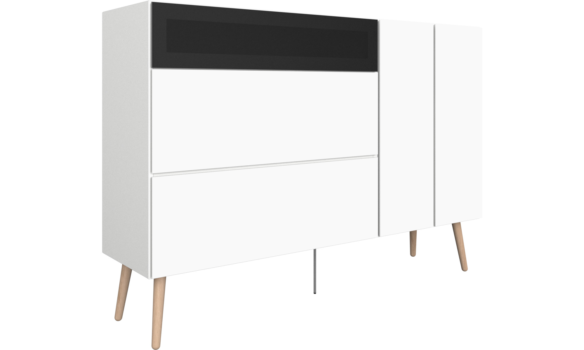 sideboards lugano highboard mit schubladen und klappt r. Black Bedroom Furniture Sets. Home Design Ideas