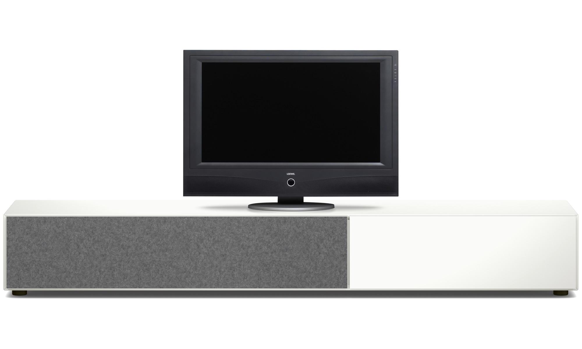 Muebles de TV - Armario bajo Lugano con cajón y puerta abatibles hacia abajo - Laca
