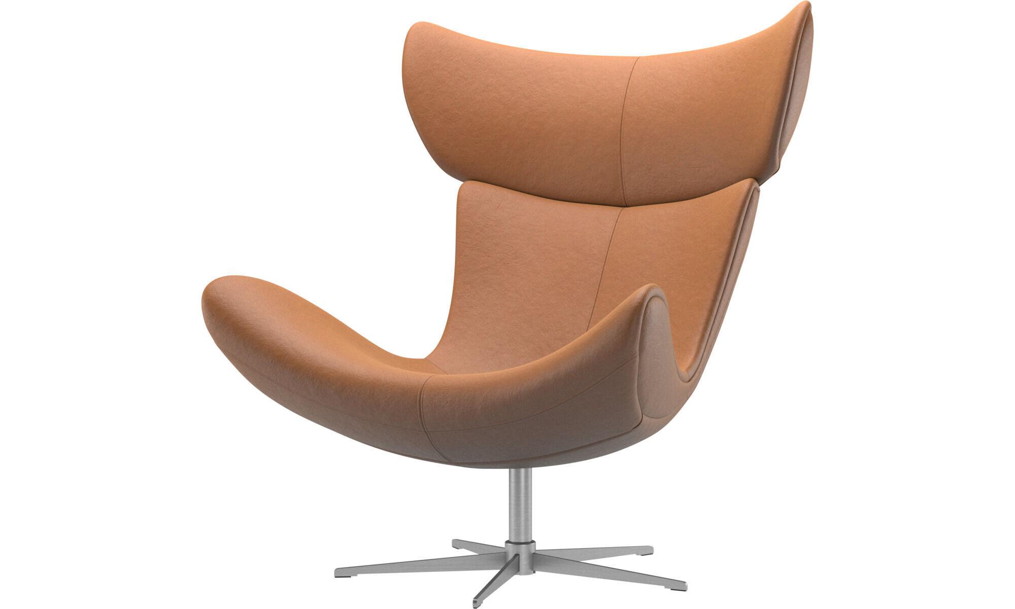 Fotele - Fotel Imola na obrotowej nodze - Brązowy - Skóra