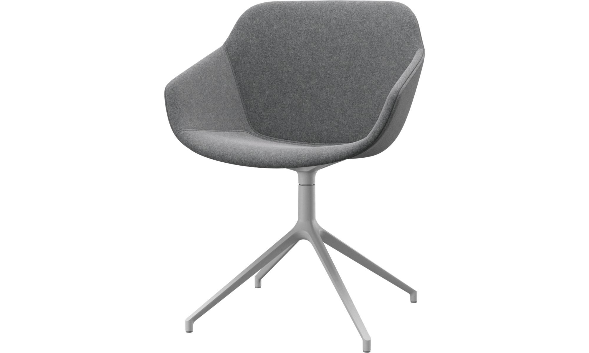 Cadeiras de jantar - Cadeira Vienna giratória - Cinza - Tecido