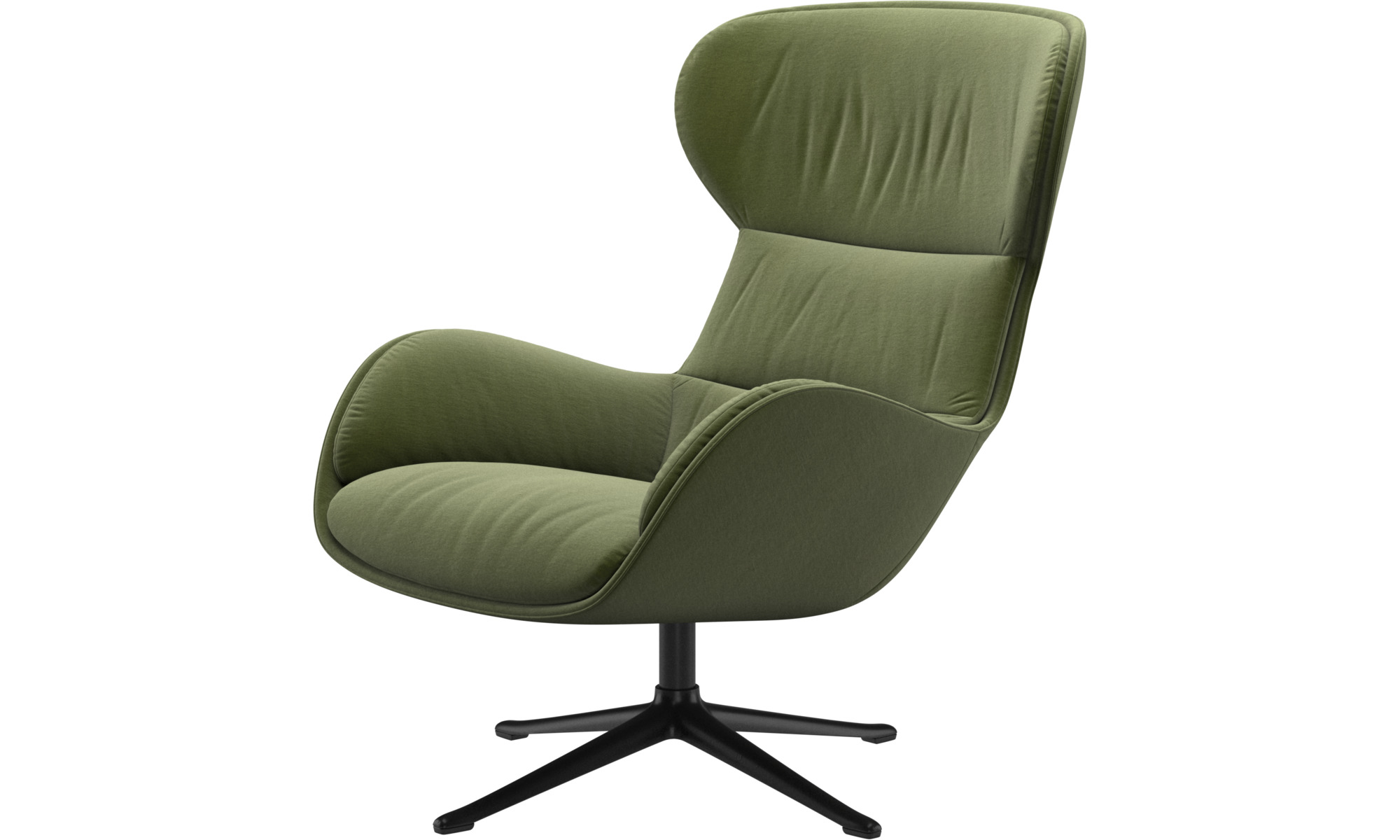 Fotele - Fotel Reno na obrotowej nodze - Zielony - Tkanina