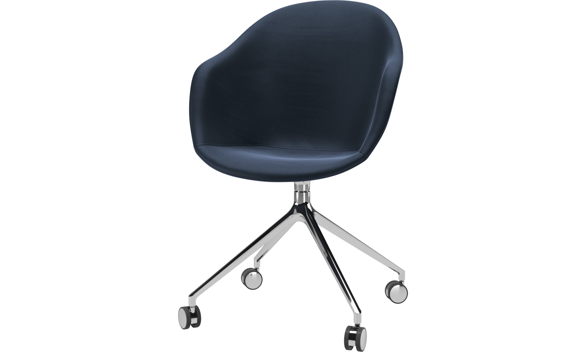 Home office chairs - Adelaide chair with swivel function and wheels - Blue - Leather