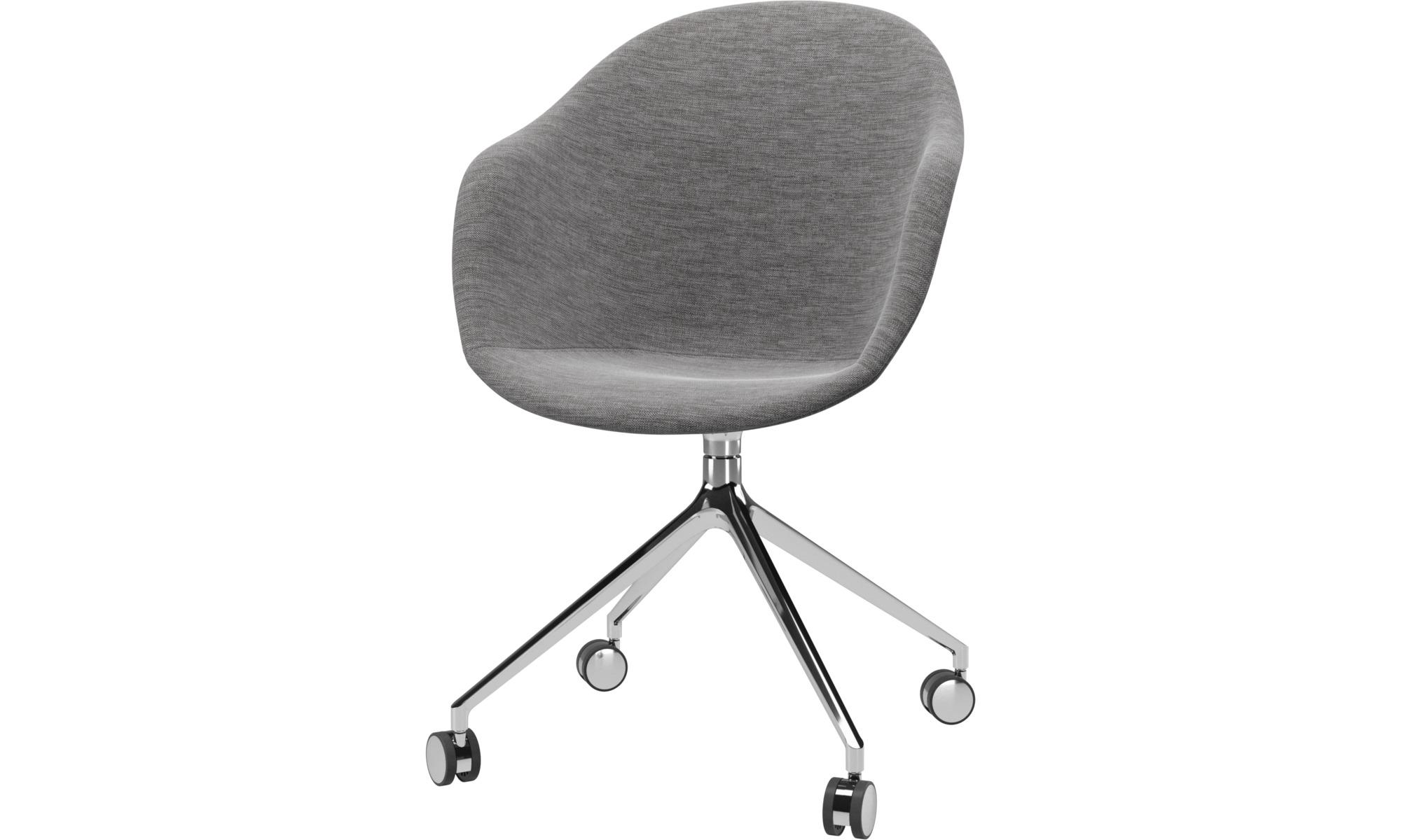Cadeiras de secretária para Home office - Cadeira Adelaide giratória com rodas - Cinza - Tecido