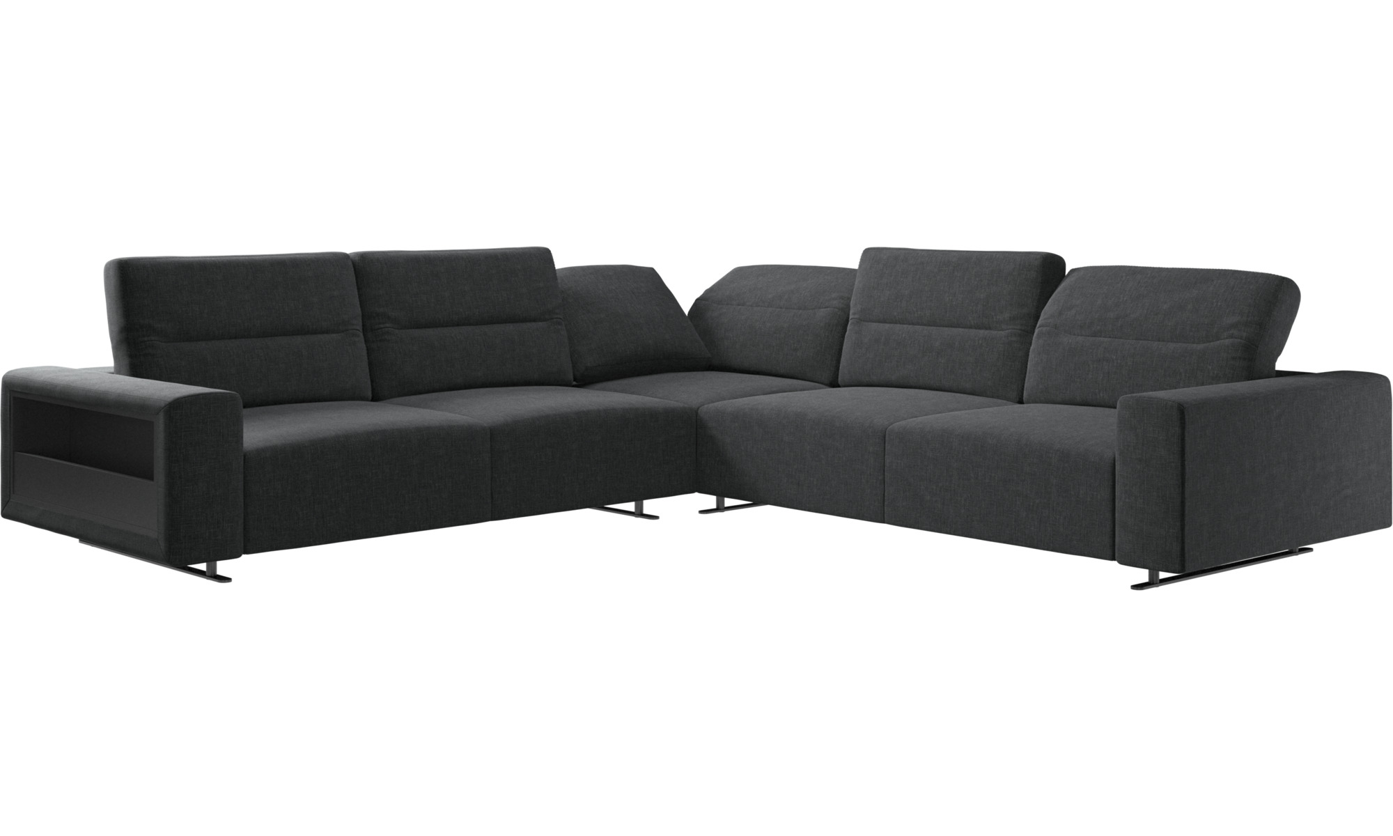 Hampton corner sofa with adjustable back and storage on left side