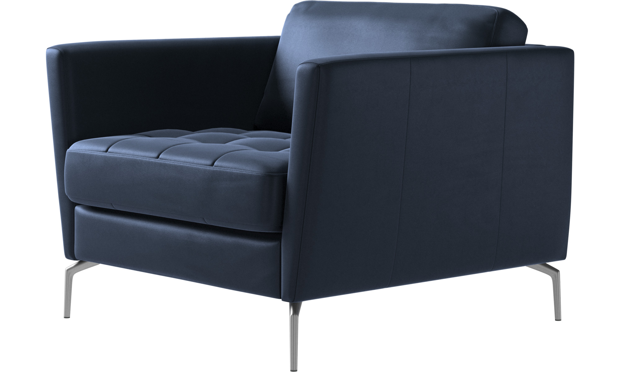 Armchairs - Osaka chair, tufted seat - Blue - Leather