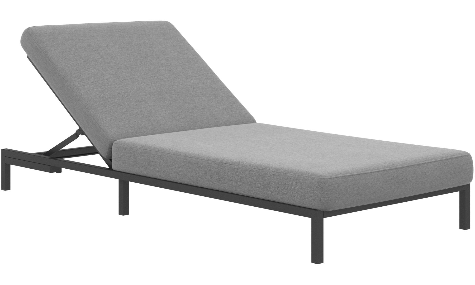 Modular sofas - Rome sun lounger without armrest - Grey - Fabric