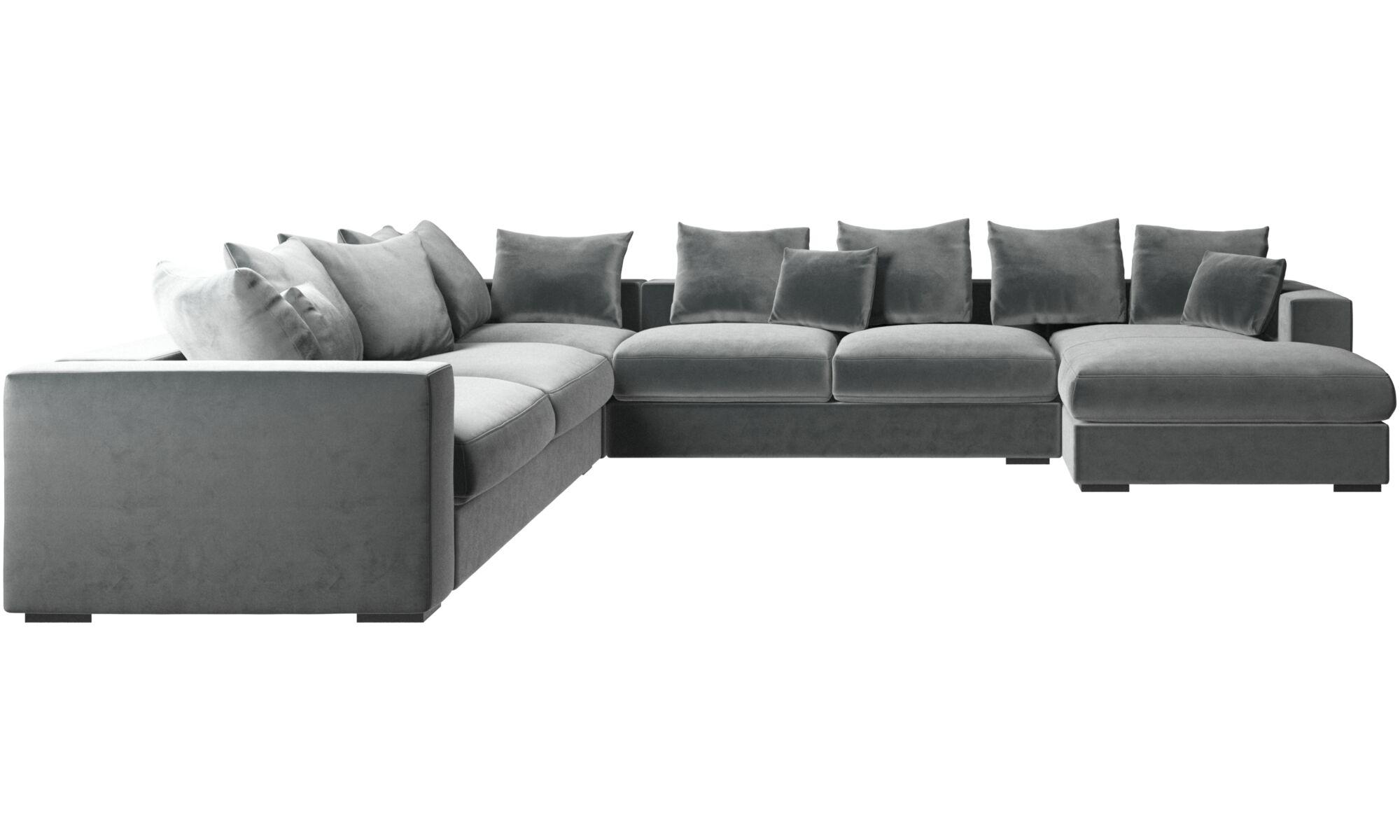 Canapés d'angle - Canapé d'angle Cenova avec méridienne - Vert - Tissu