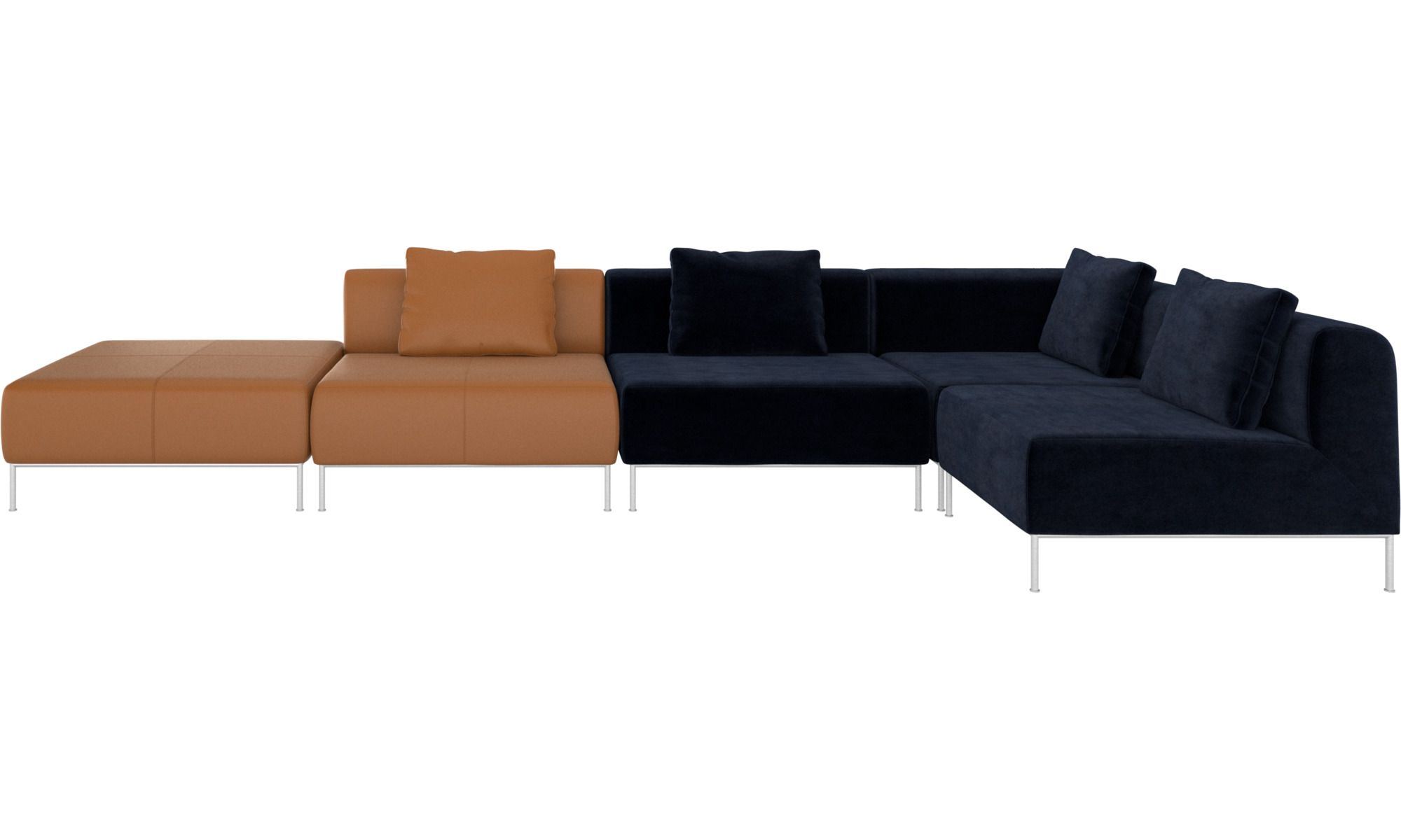 Modular Sofas - Miami Corner Sofa With Footstool On Left Side - BoConcept