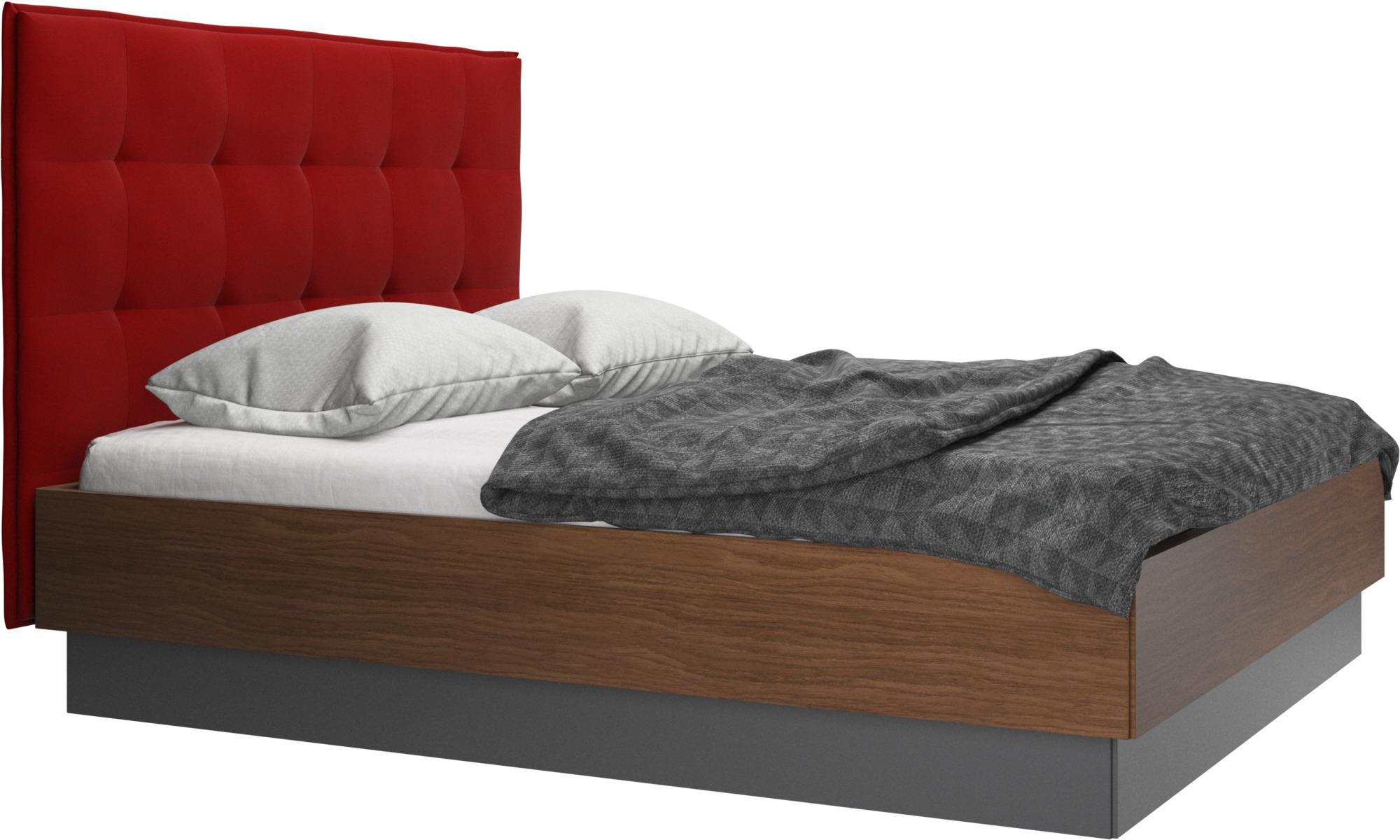 Camas - Cama con canapé Lugano, estructura elevable y tablado, no incluye colchón - Rojo - Tela