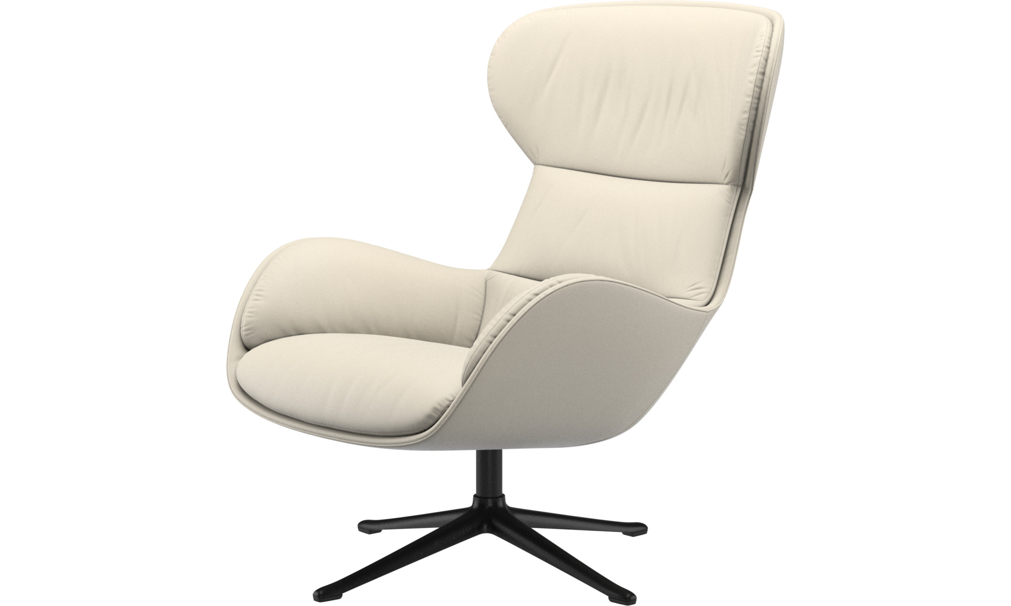 Armchairs - Reno chair with swivel function - White - Leather