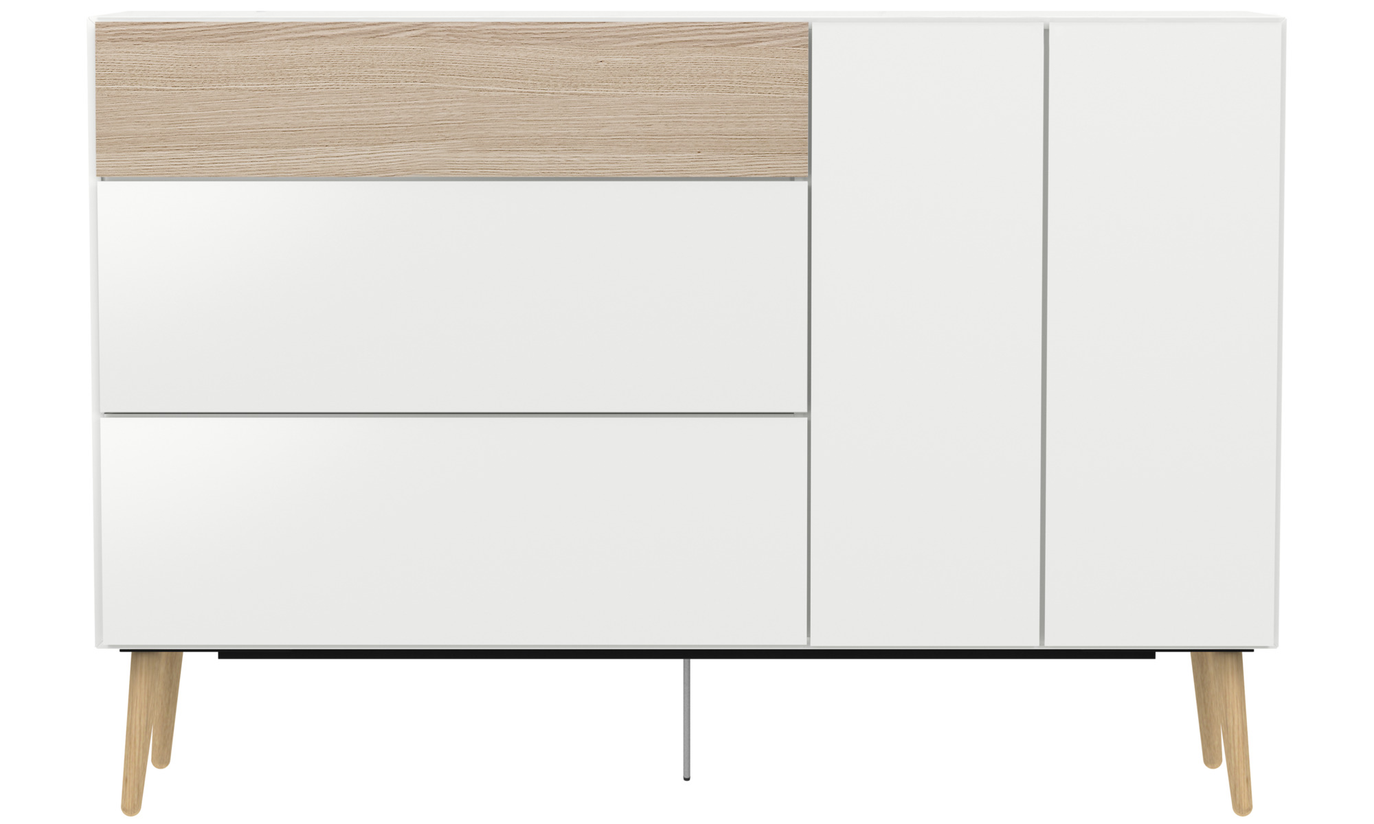 Buffets - buffet Lugano avec tiroirs et porte abattante - Blanc - Laqué