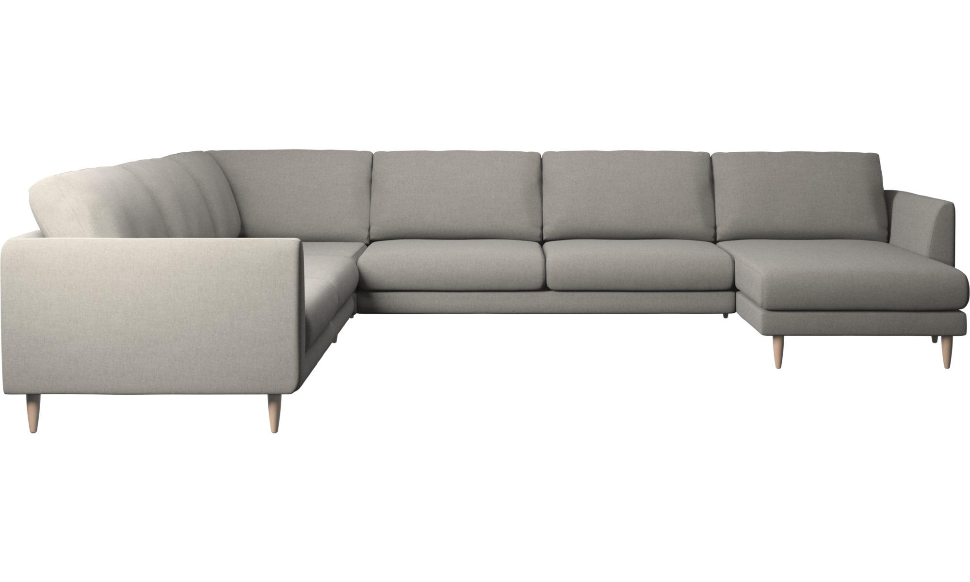 Canapés d'angle - Canapé d'angle Fargo avec méridienne - Gris - Tissu