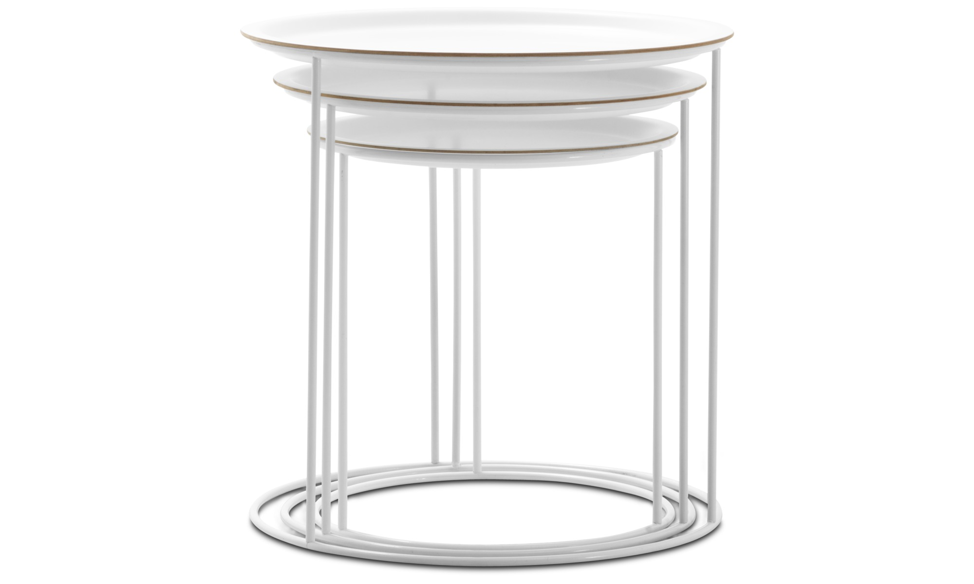 ... Coffee Tables   Cartagena Nesting Tables   Round   White   Lacquered