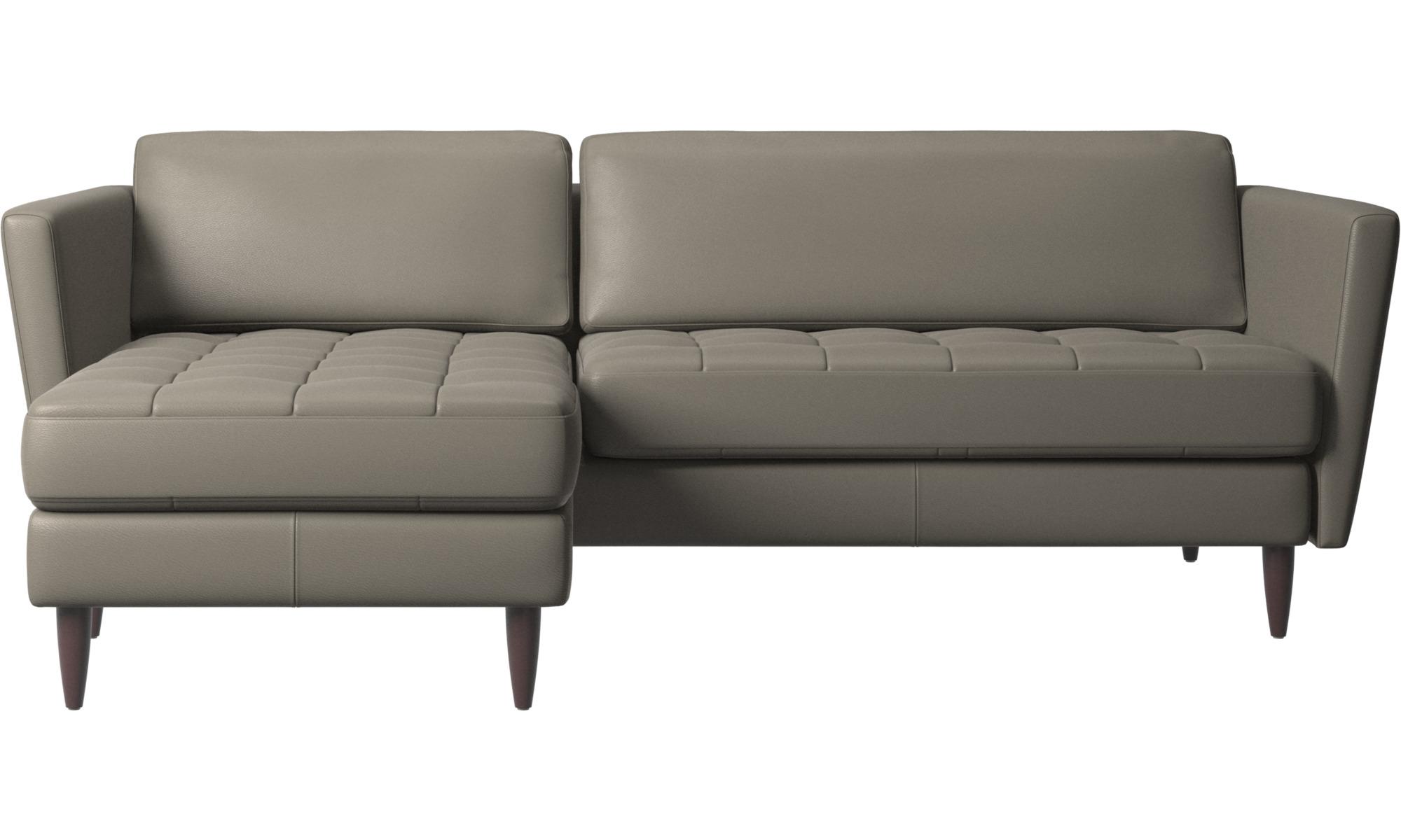 Sofaer med chaiselong - Osaka sofa med hvilemodul, tuftet sædehynde - Grå - Læder