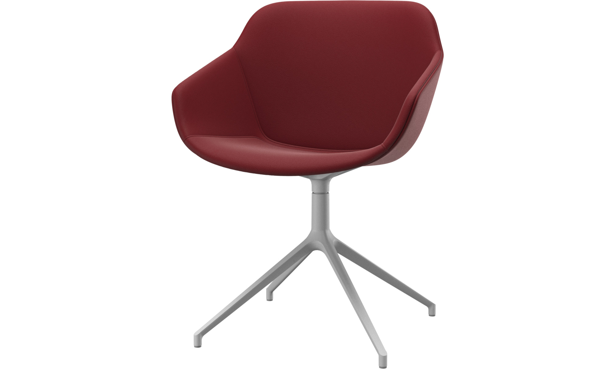 Dining chairs - Vienna chair with swivel function - Red - Leather