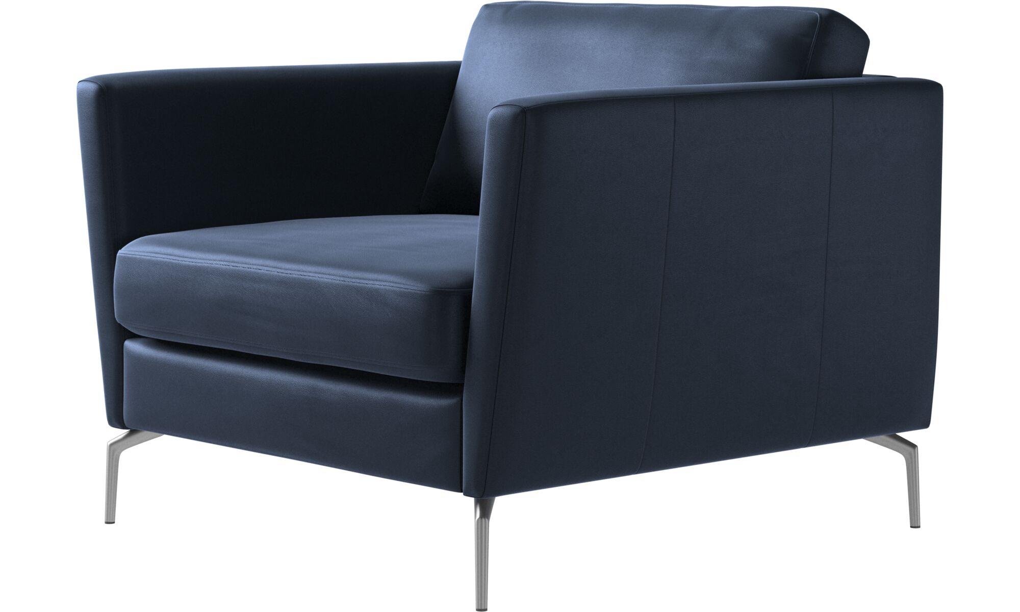 Armchairs - Osaka chair, regular seat - Blue - Leather