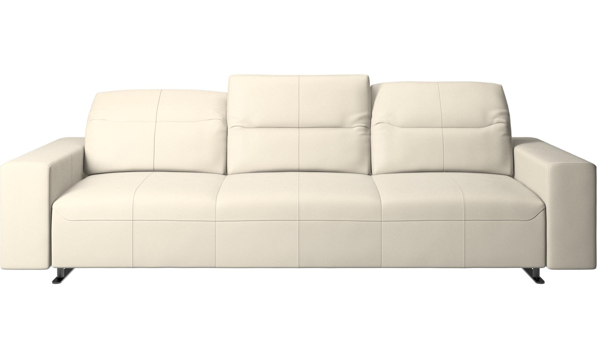 Canapés 3 places - Canapé Hampton avec dossier ajustable - Blanc - Cuir