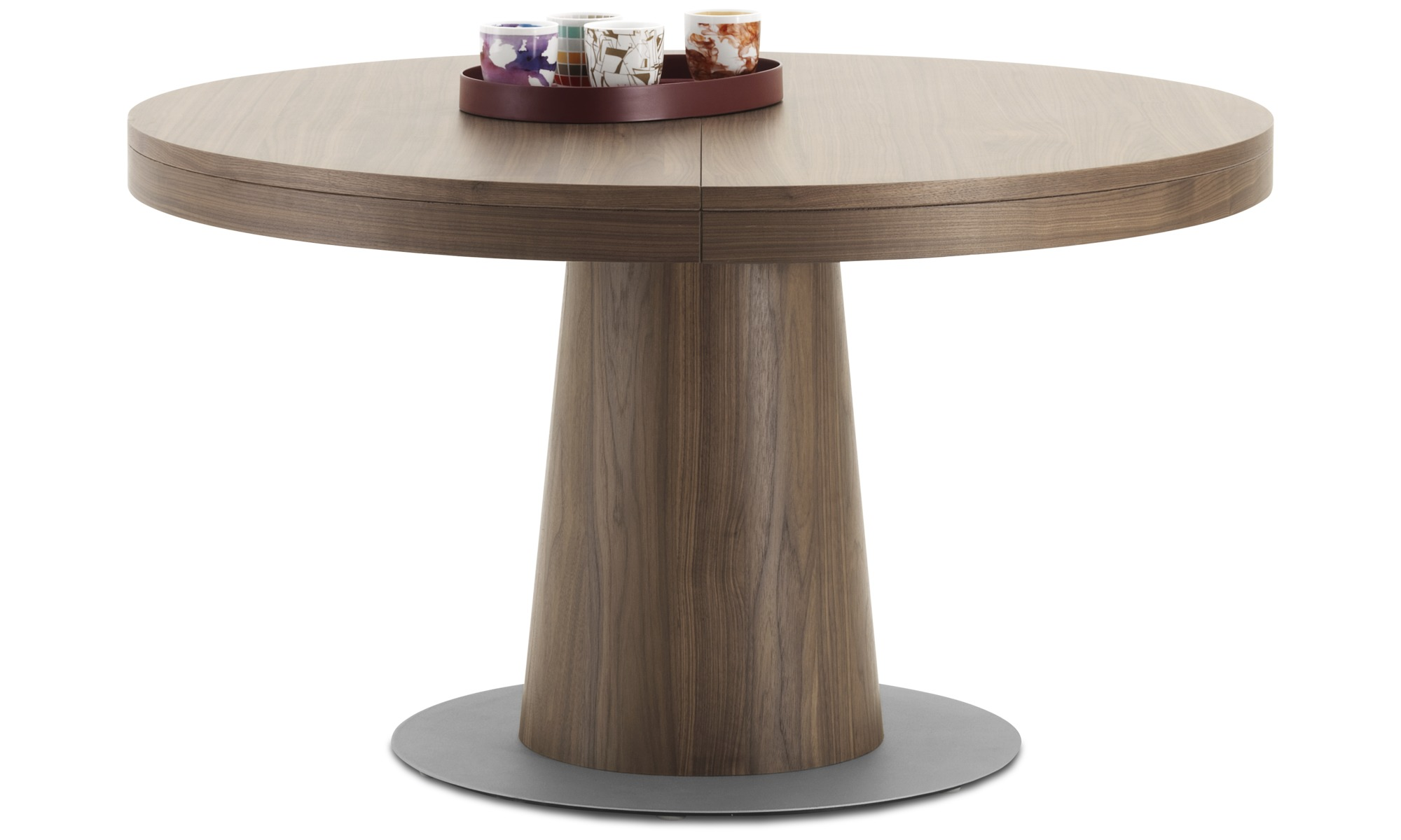 Dining Tables   Granada Table With Supplementary Tabletop   Round   Brown    Walnut ...