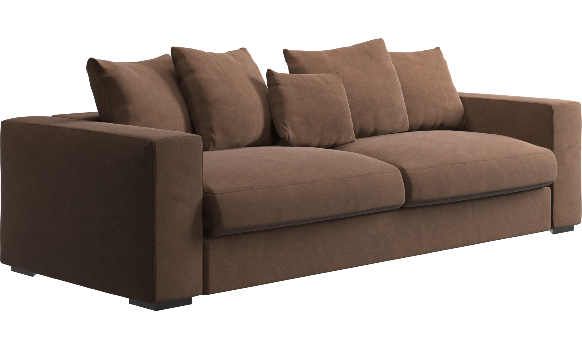 Brown fabric sofas nia brown fabric chaise lounge steal a for Sofas modulares de tela