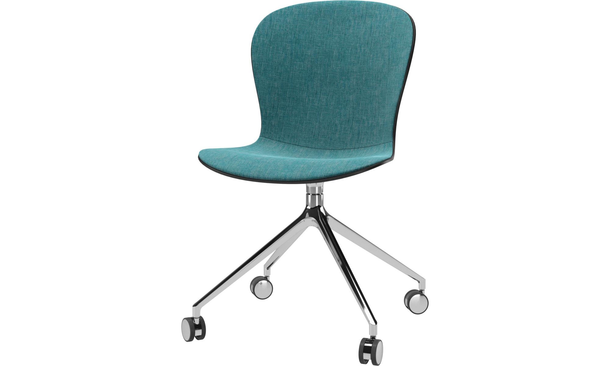 Cadeiras de secretária para Home office - Cadeira Adelaide giratória com rodas - Azul - Tecido
