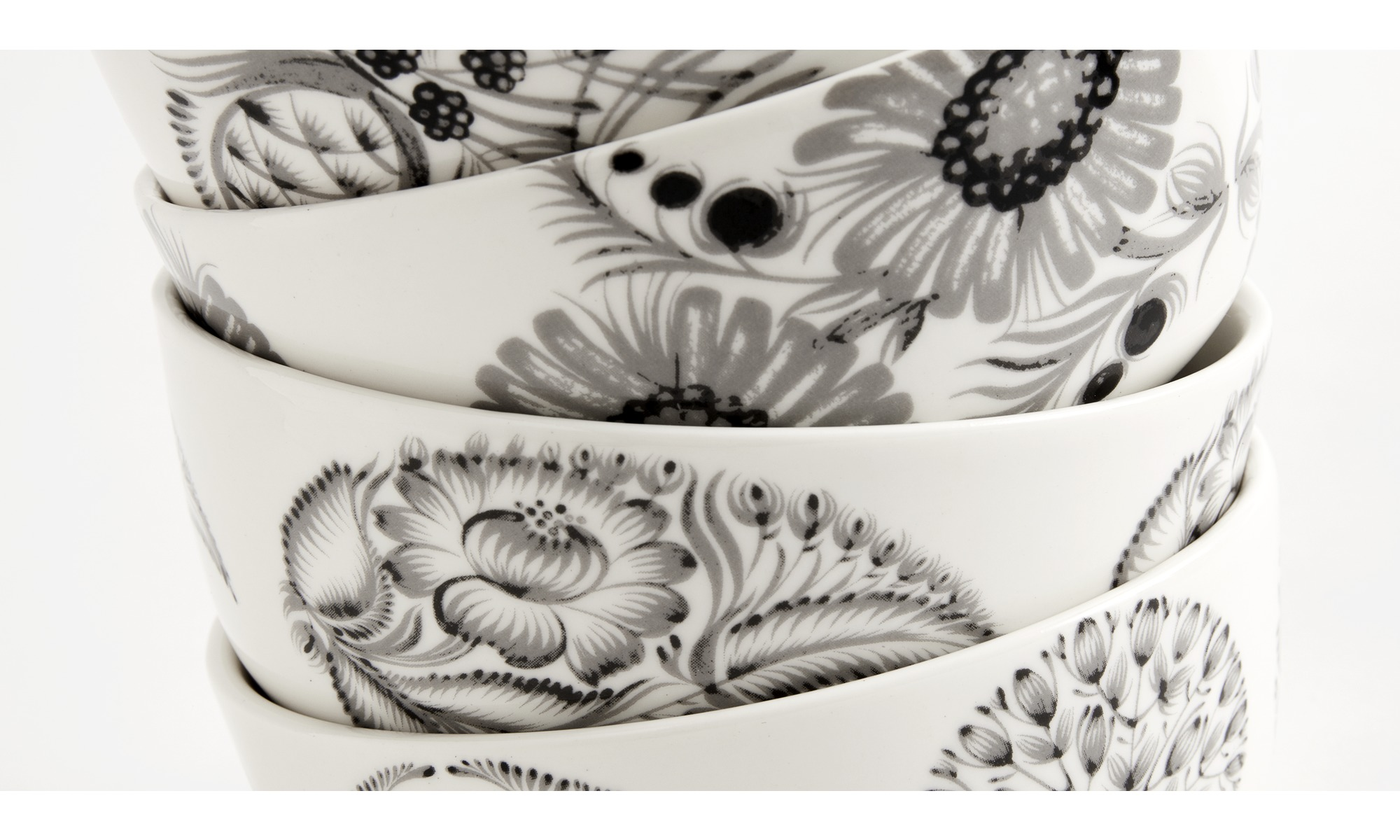 Dinnerware - nora bowls with floral pattern - White - Ceramic & Dinnerware - nora bowls with floral pattern - BoConcept
