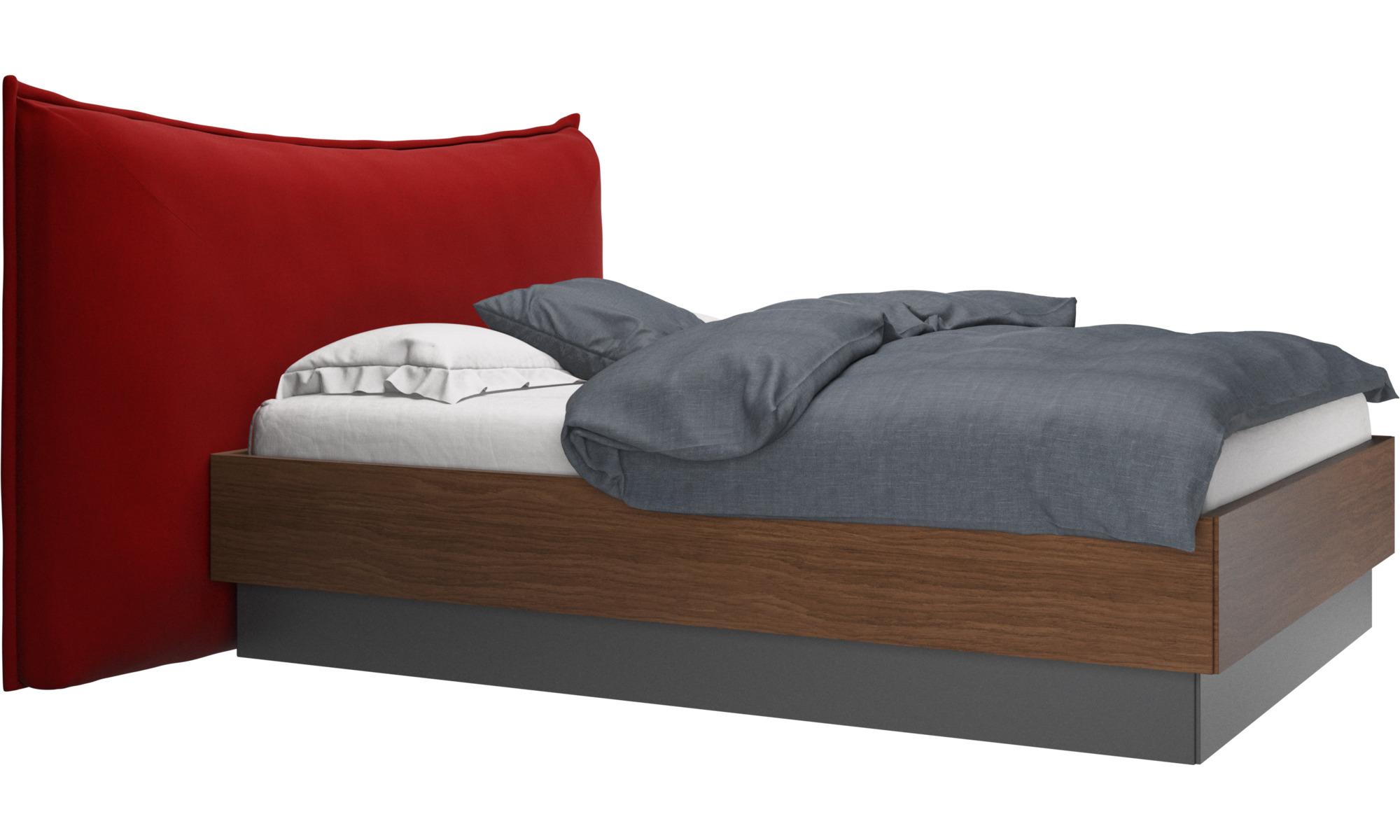 Camas - Cama con canapé, estructura elevable y tablado, no incluye colchón Gent - Rojo - Tela