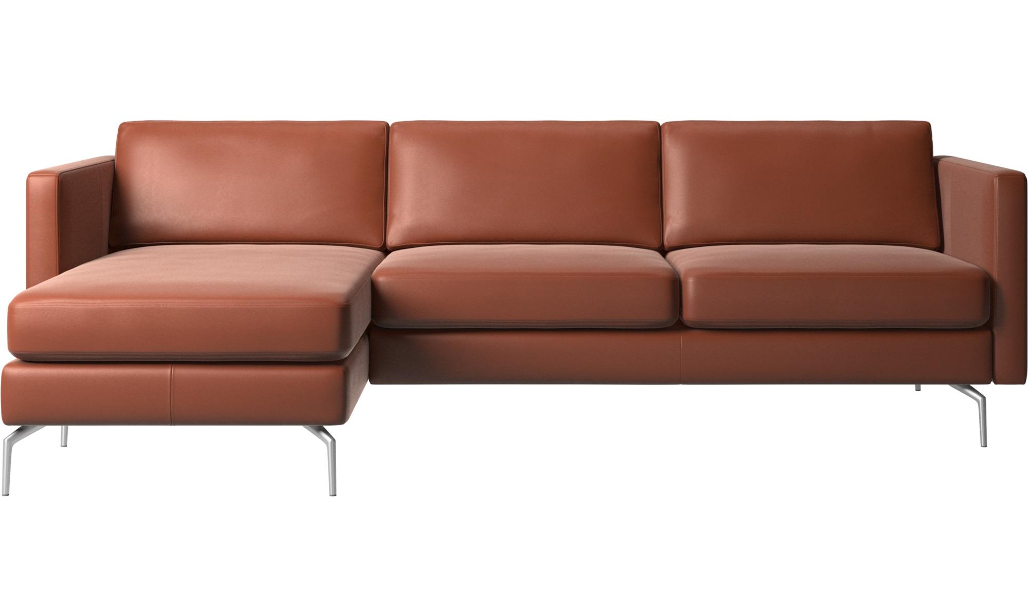 80b6855c4 Chaise longue sofas - Osaka divano con penisola relax, seduta liscia -  Marrone - Pelle ...