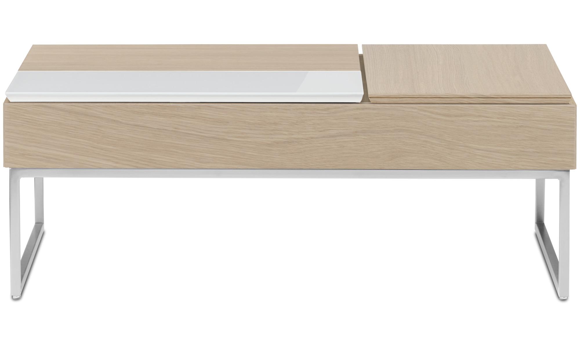 Tables basses - Table basse multifonction Chiva avec espace de rangement - rectangulaire - Marron - Chêne