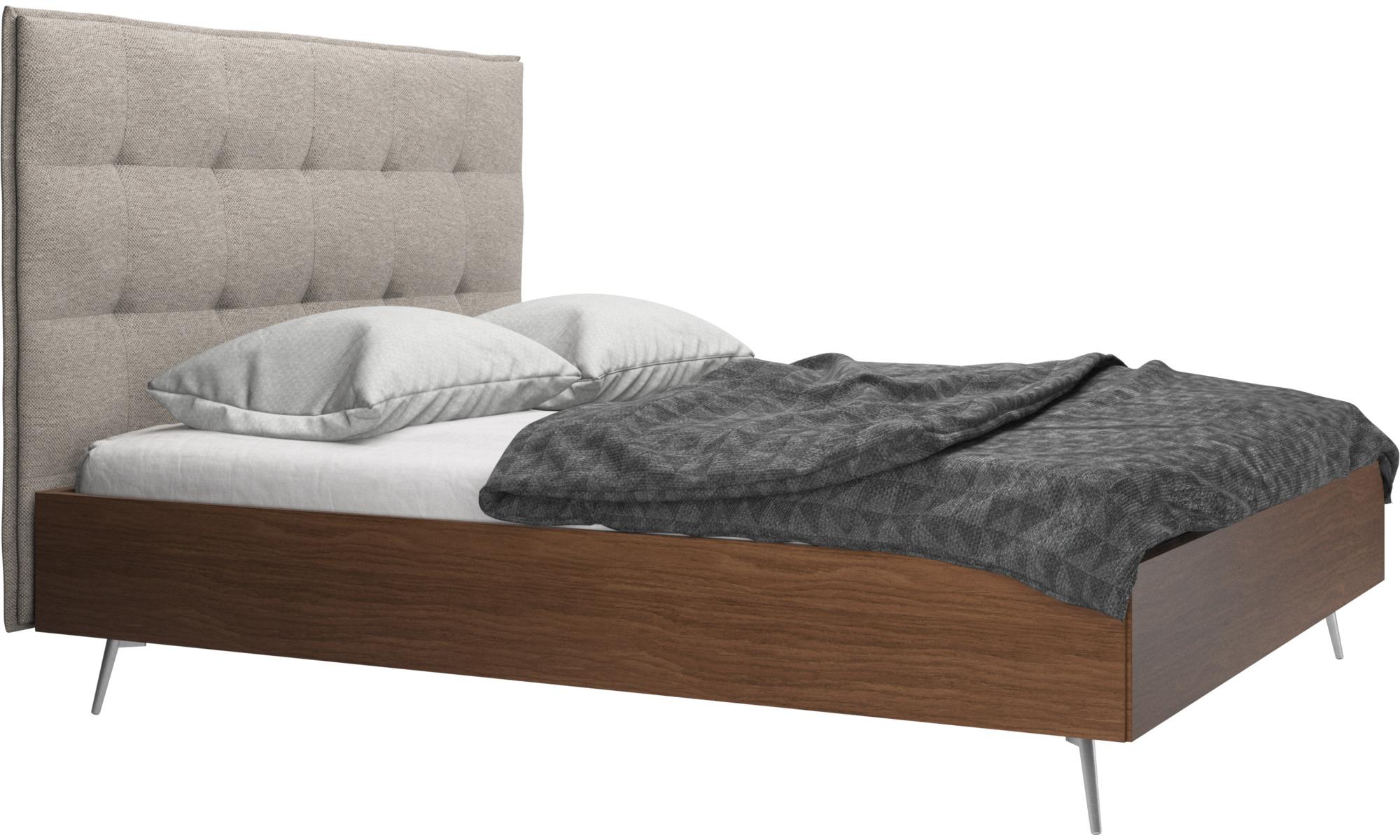 Betten - Lugano Bett, Lattenrost und Matratze gegen Aufpreis - Beige - Stoff