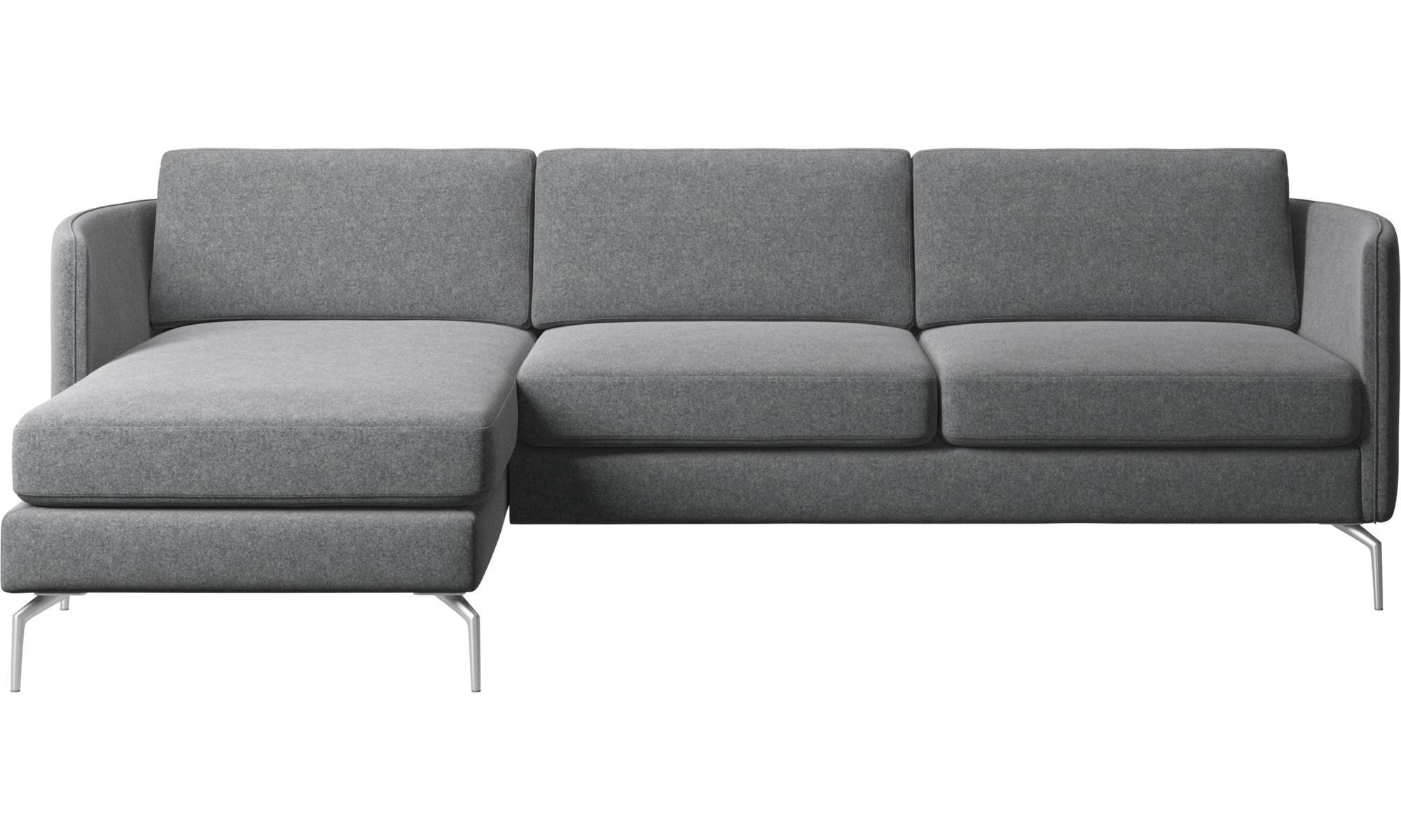 Chaise longue sofas - Osaka sofa with resting unit, regular seat - Grey - Fabric
