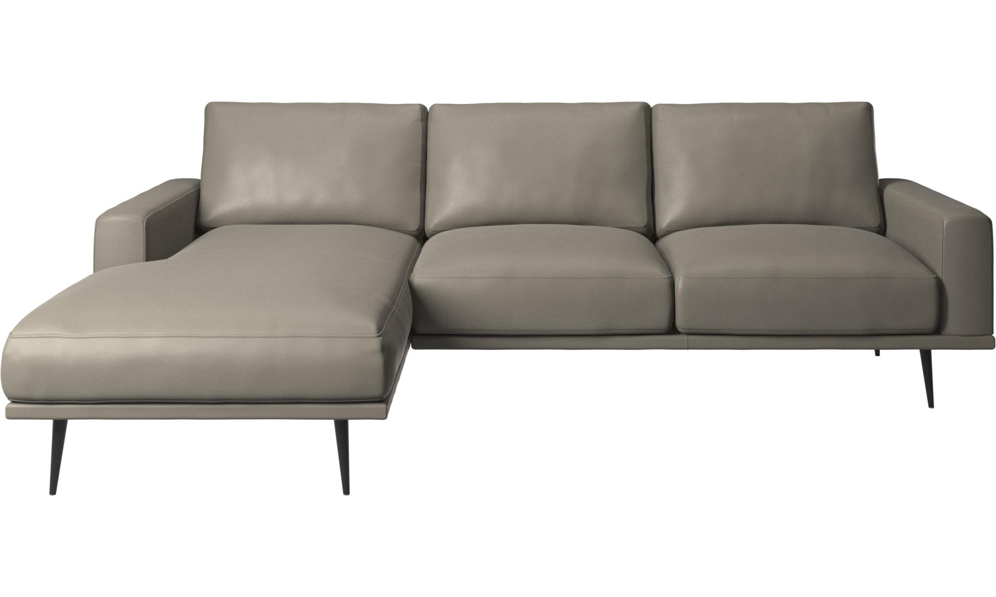 Sofaer med chaiselong - Carlton sofa med hvilemodul - Grå - Læder
