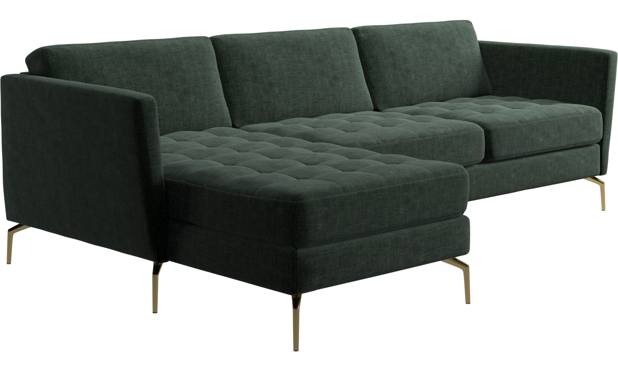 Chaise Lounge Sofas Osaka Sofa With Resting Unit Tufted Seat Green Fabric