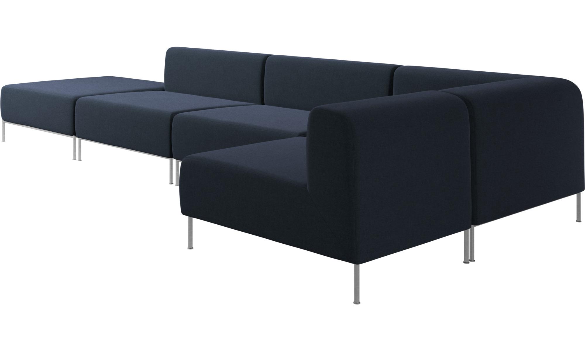 Modular Sofas Miami Corner Sofa With Pouf On Left Side Blue Fabric