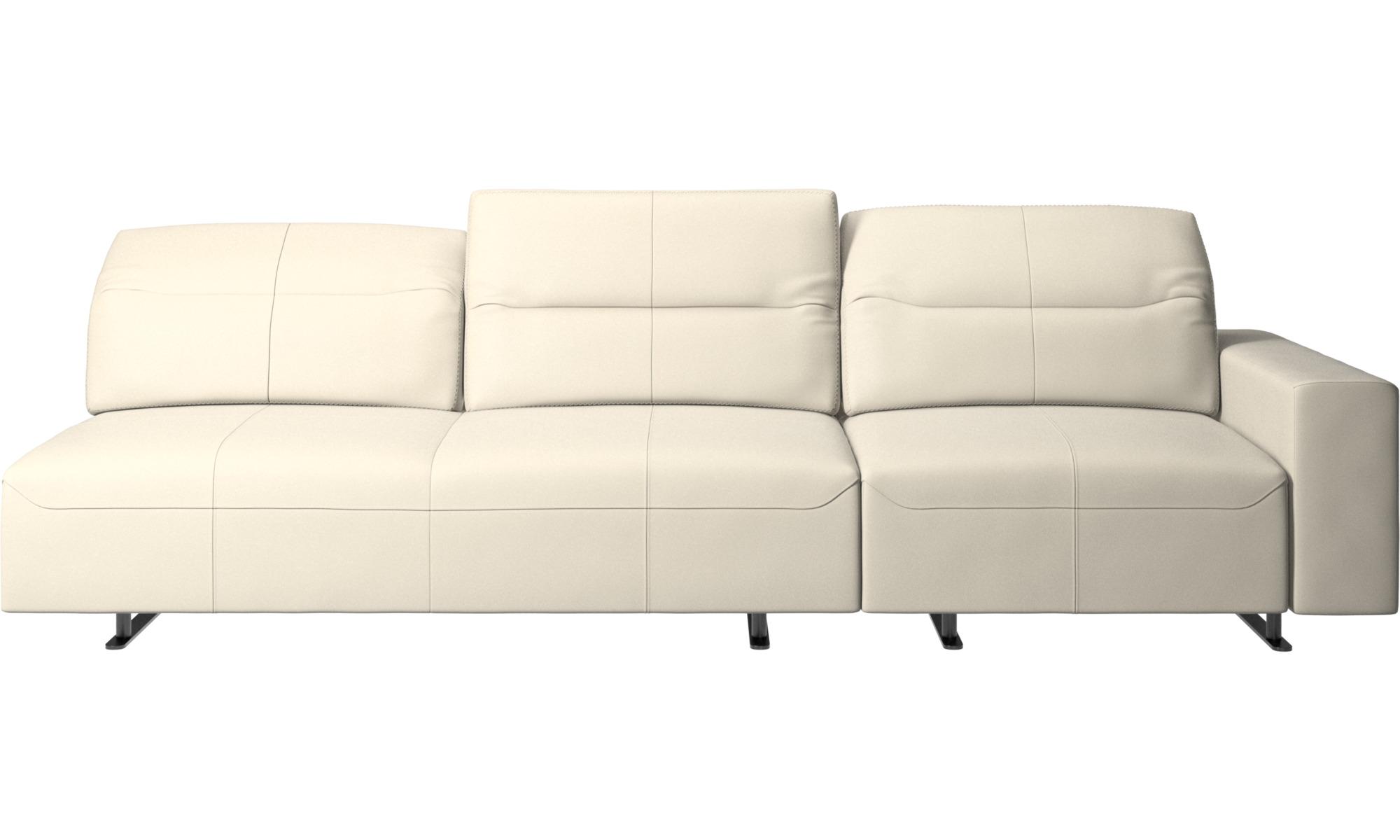 Canapés 3 places - Canapé d'angle Hampton avec dossier ajustable et espace de rangement côté droit - Blanc - Cuir